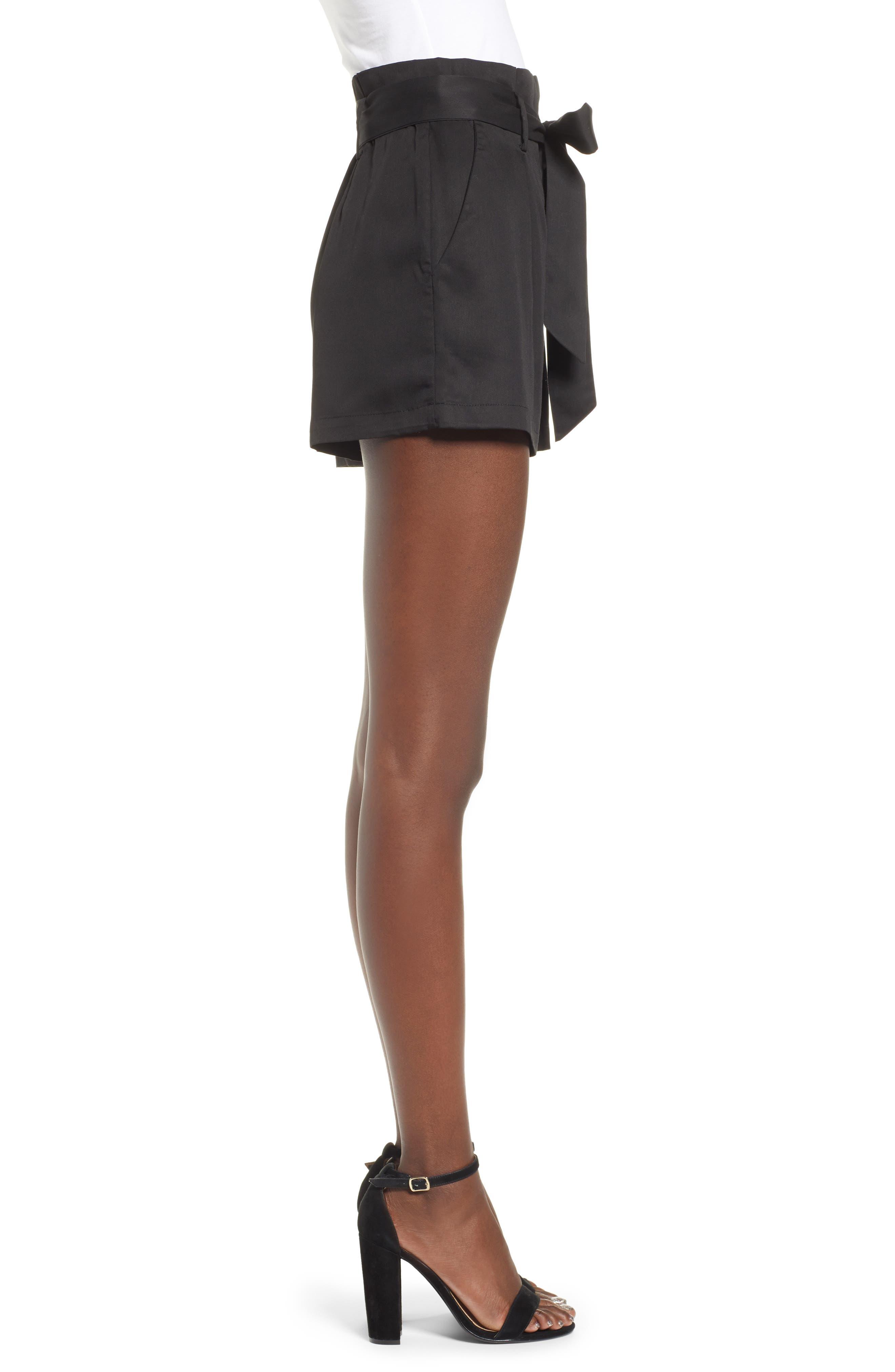 Tie Front Shorts,                             Alternate thumbnail 4, color,                             BLACK