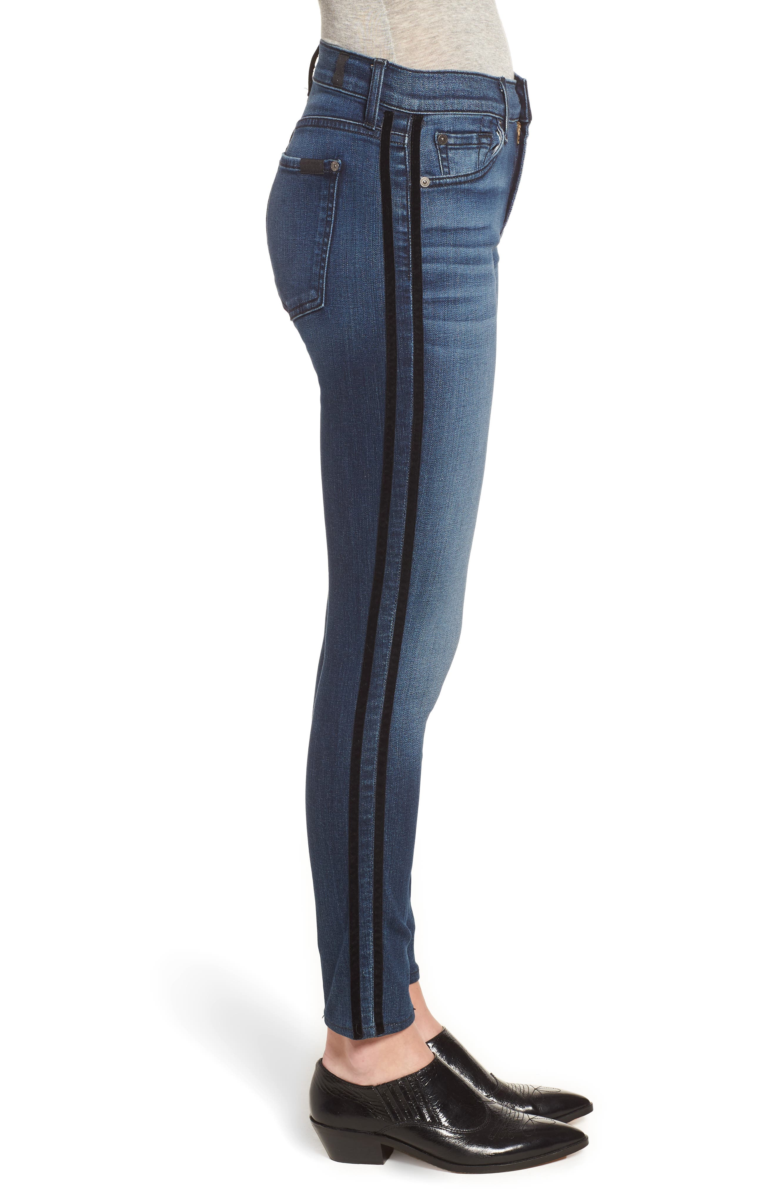 Ankle Skinny Double Stripes Jeans,                             Alternate thumbnail 3, color,                             400