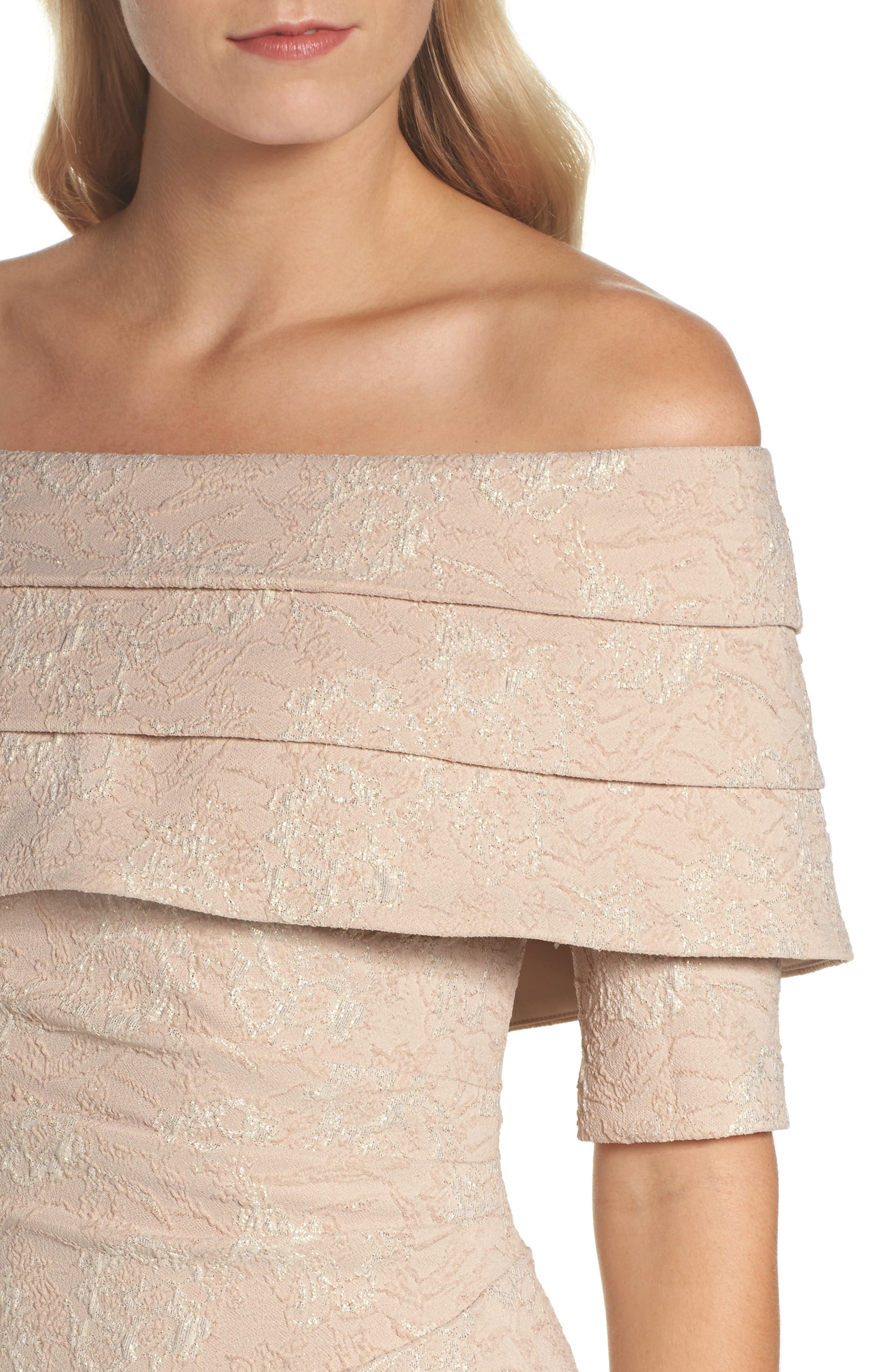 Brocade Off the Shoulder Trumpet Gown,                             Alternate thumbnail 4, color,                             908