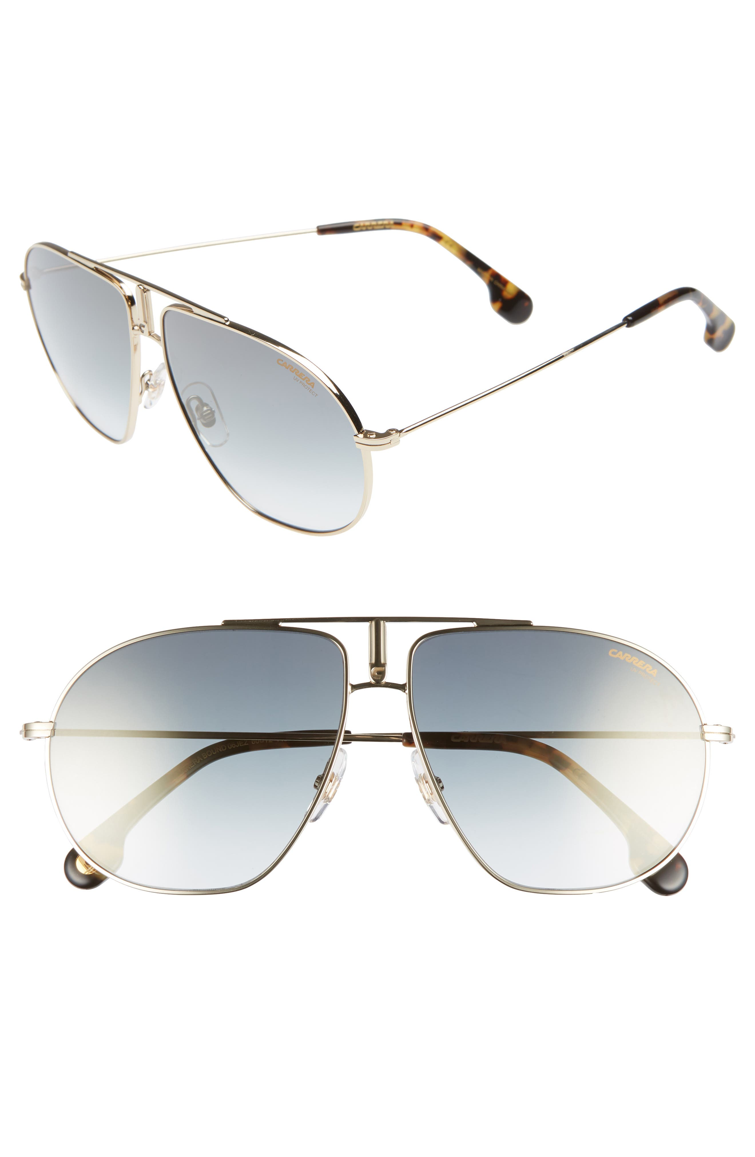 Bounds 60mm Gradient Aviator Sunglasses,                             Main thumbnail 1, color,                             GOLD