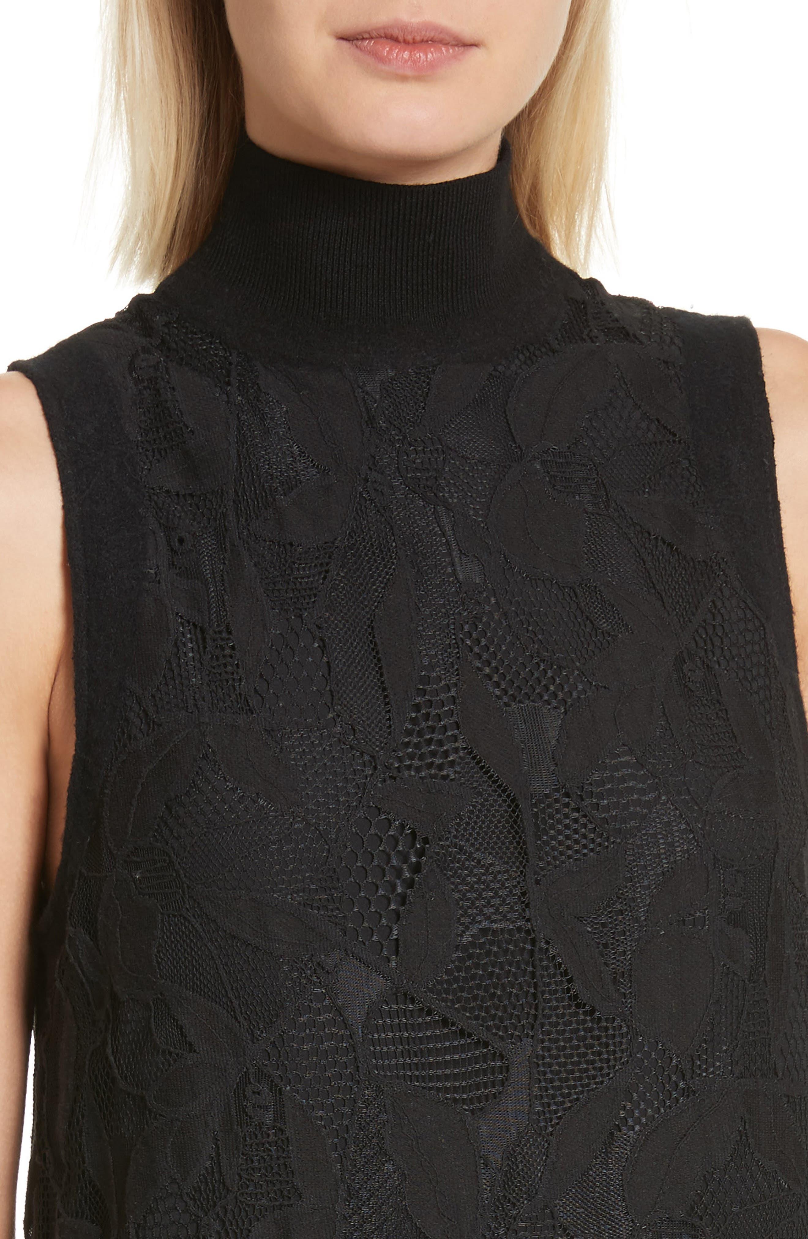 Sofiya Lace Dress,                             Alternate thumbnail 4, color,                             001