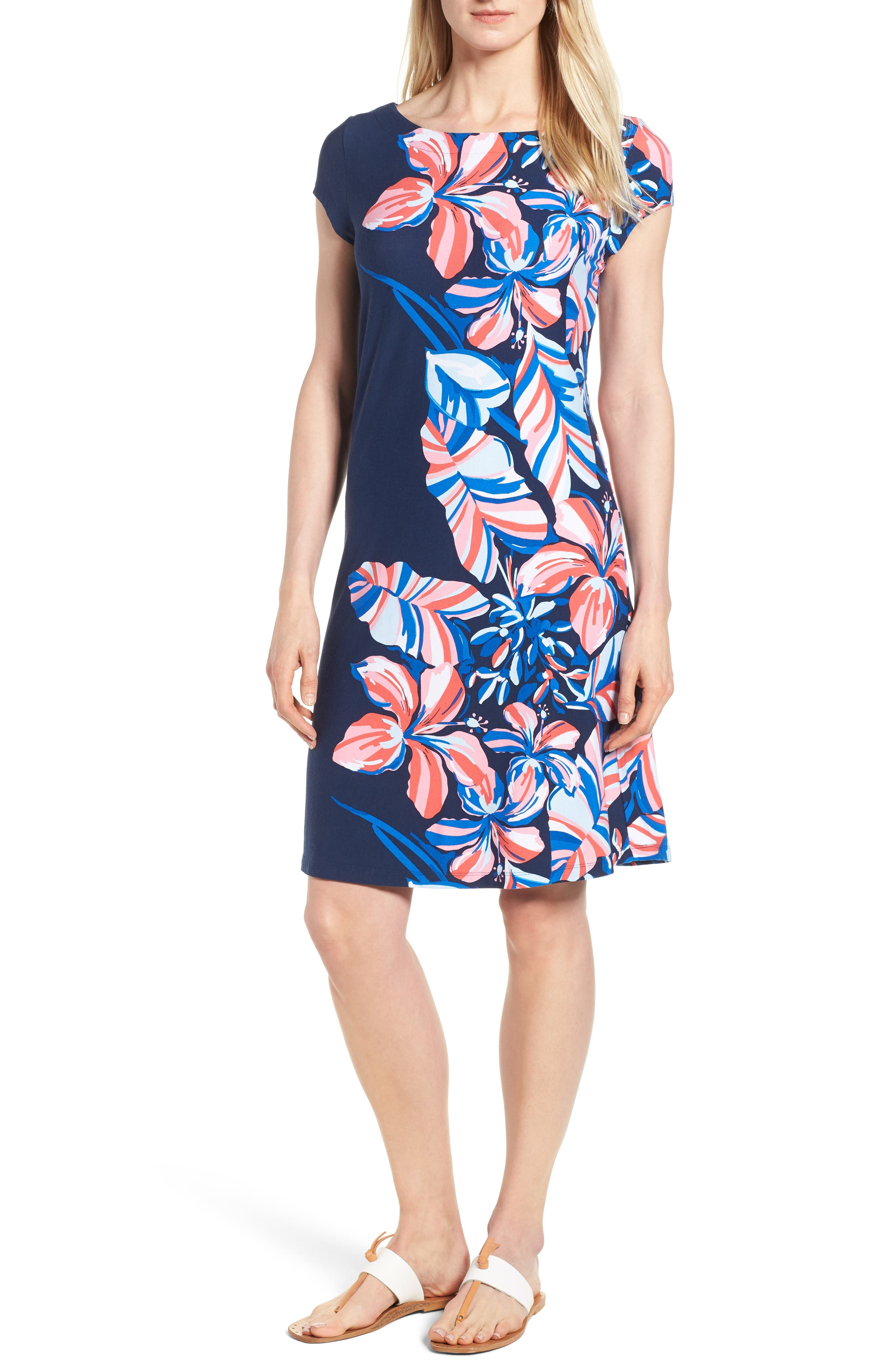 Tommy Bahama Le Tigre Floral Cap Sleeve Dress, Blue