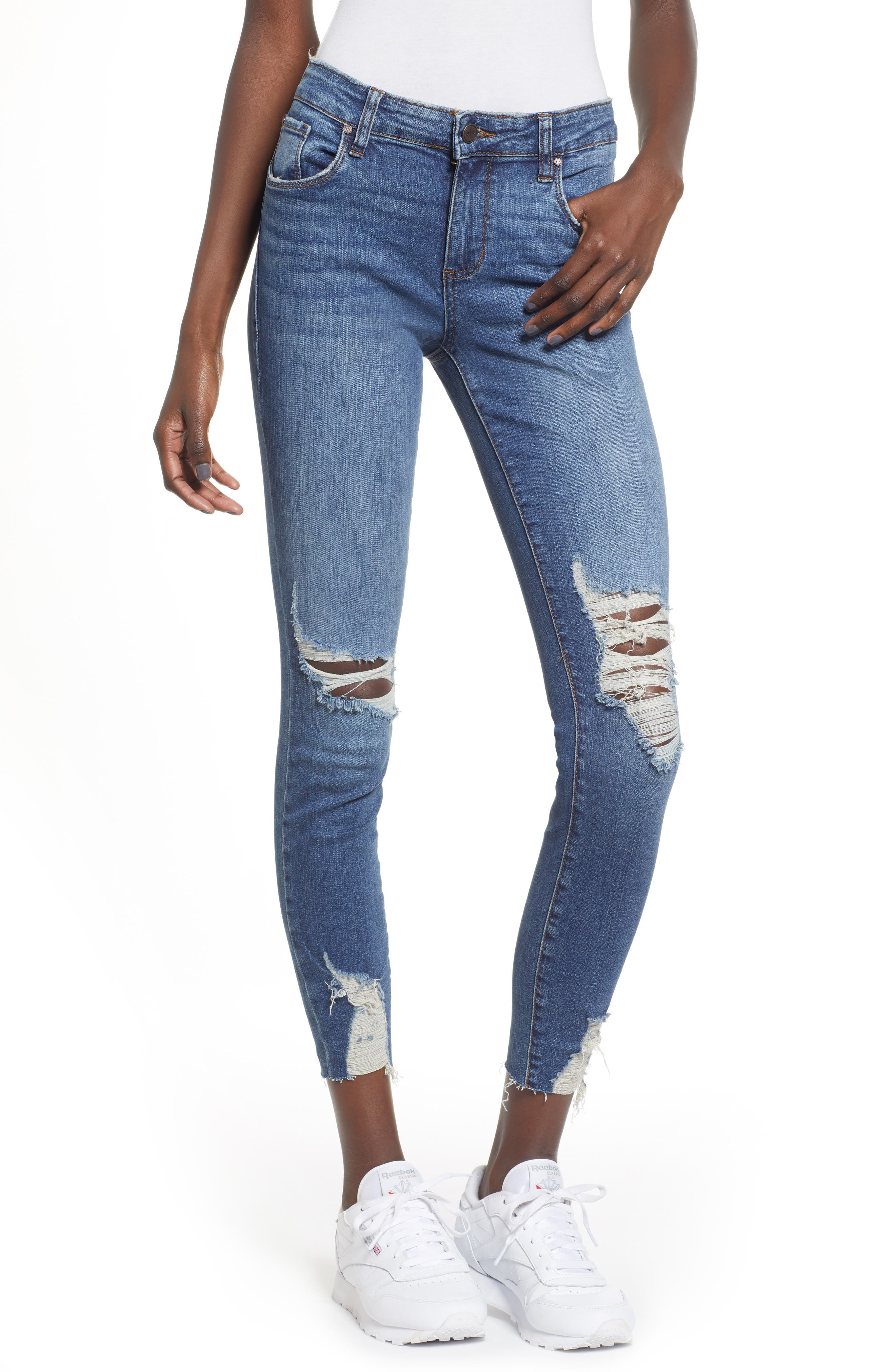Ripped Skinny Jeans,                         Main,                         color, DARK VINTAGE WASH