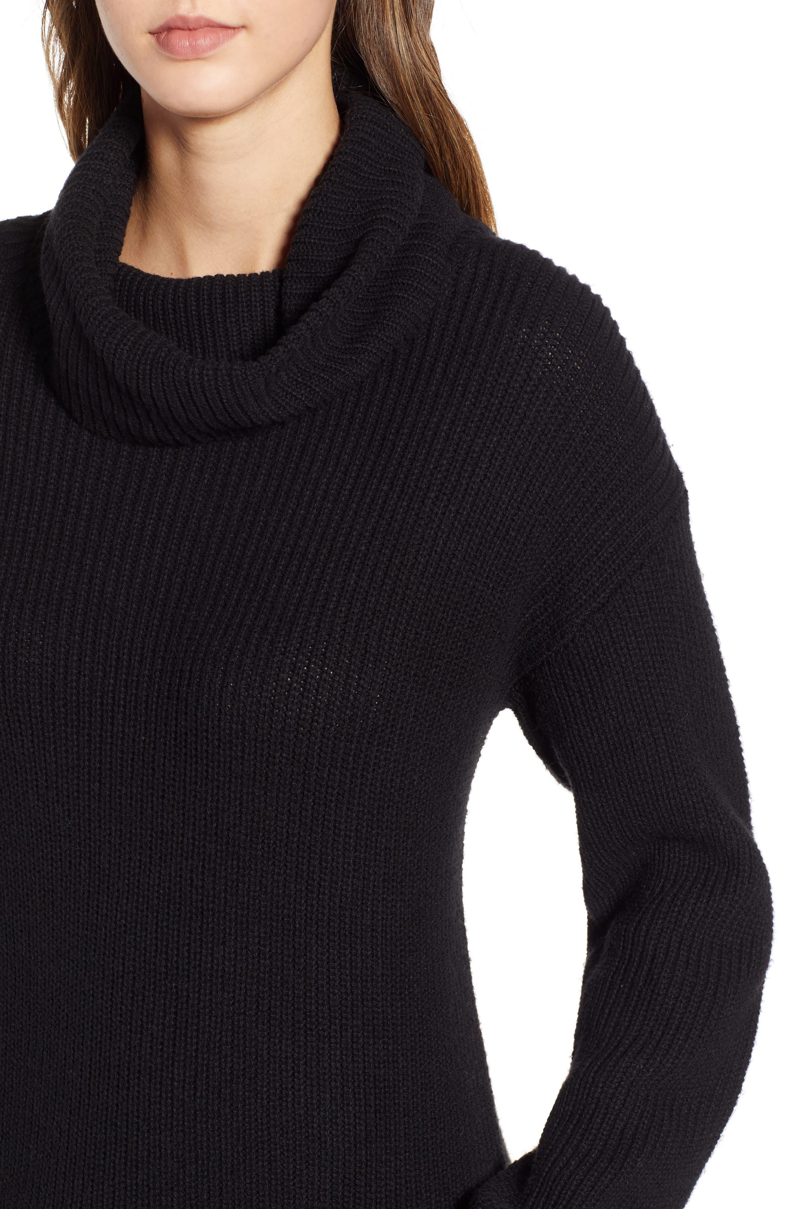 BP.,                             Cowl Neck Sweater Dress,                             Alternate thumbnail 4, color,                             001