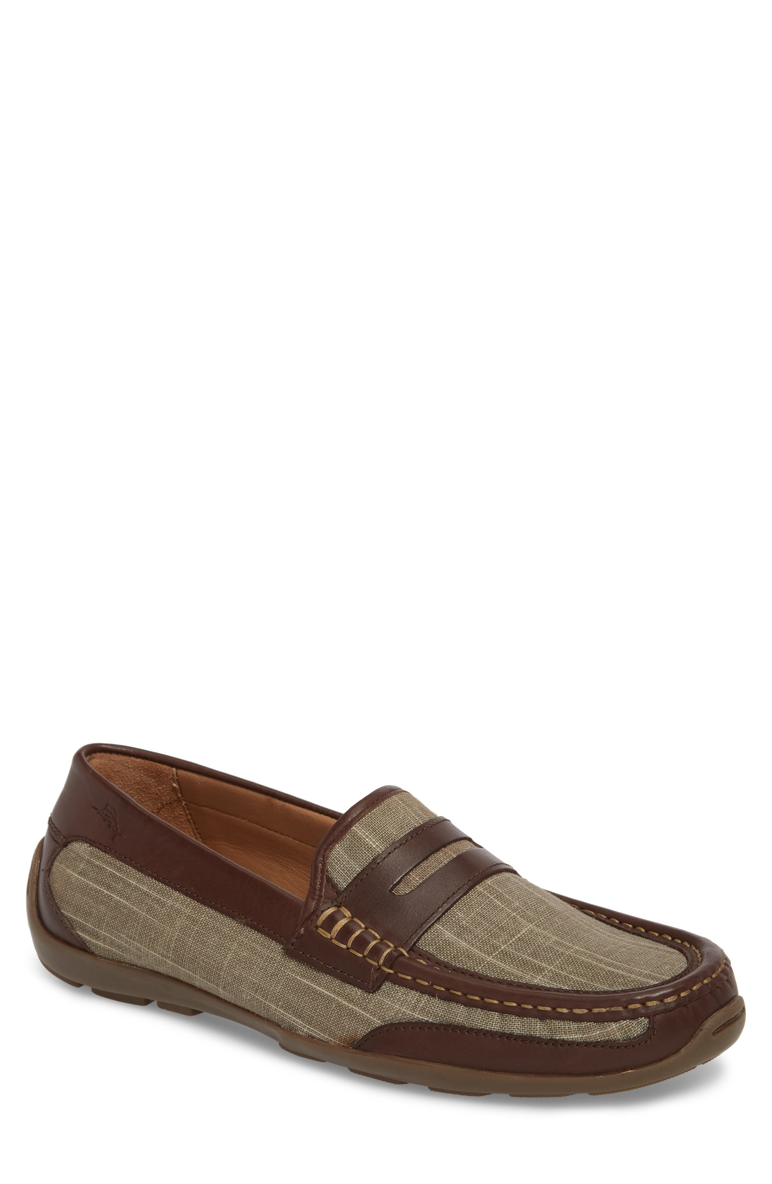 Taza Fronds Driving Shoe,                             Main thumbnail 1, color,                             BROWN/ OLIVE LEATHER/ LINEN