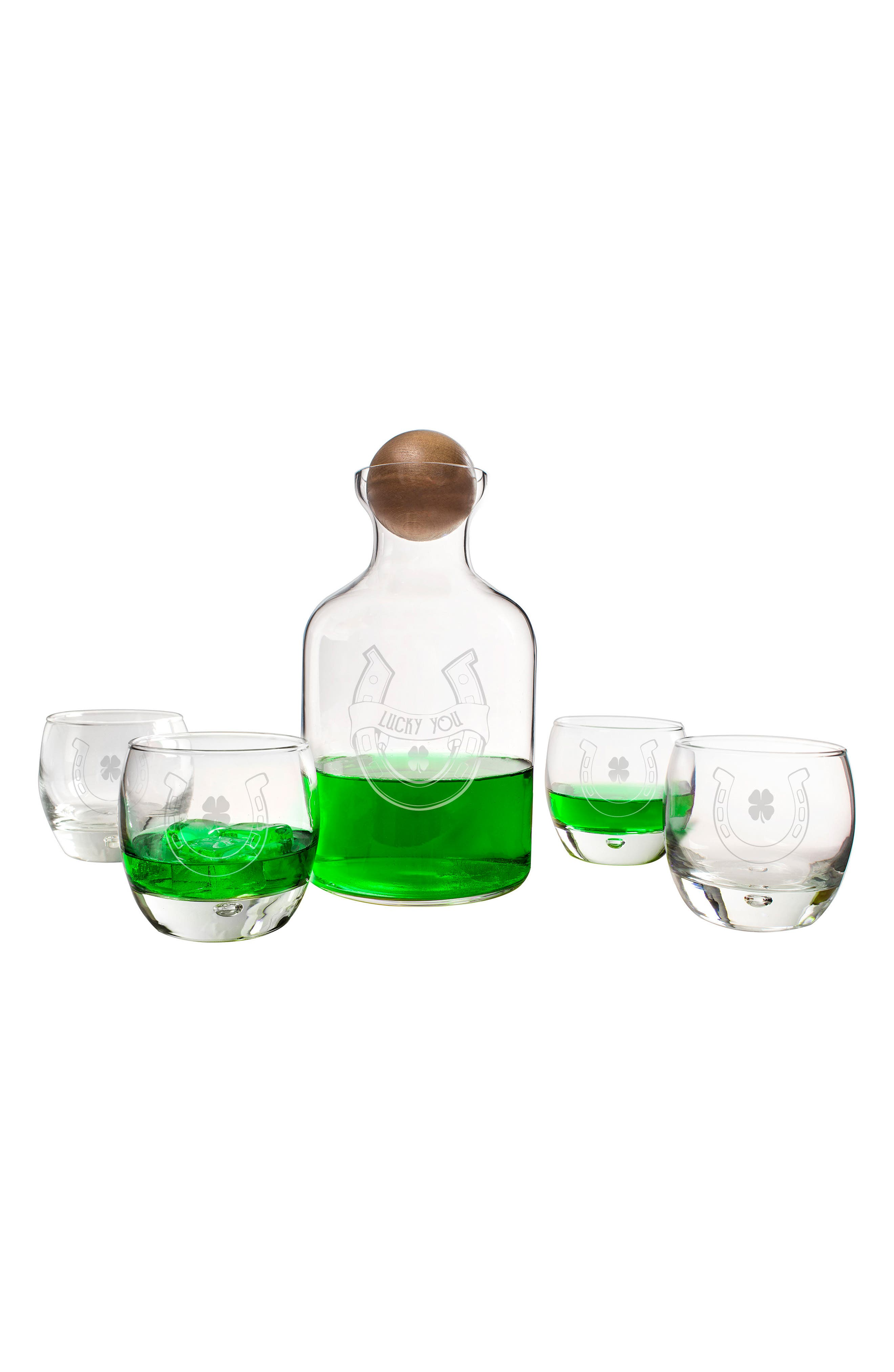 Lucky You Horseshoe Decanter & Set of Four Glasses,                         Main,                         color, 100