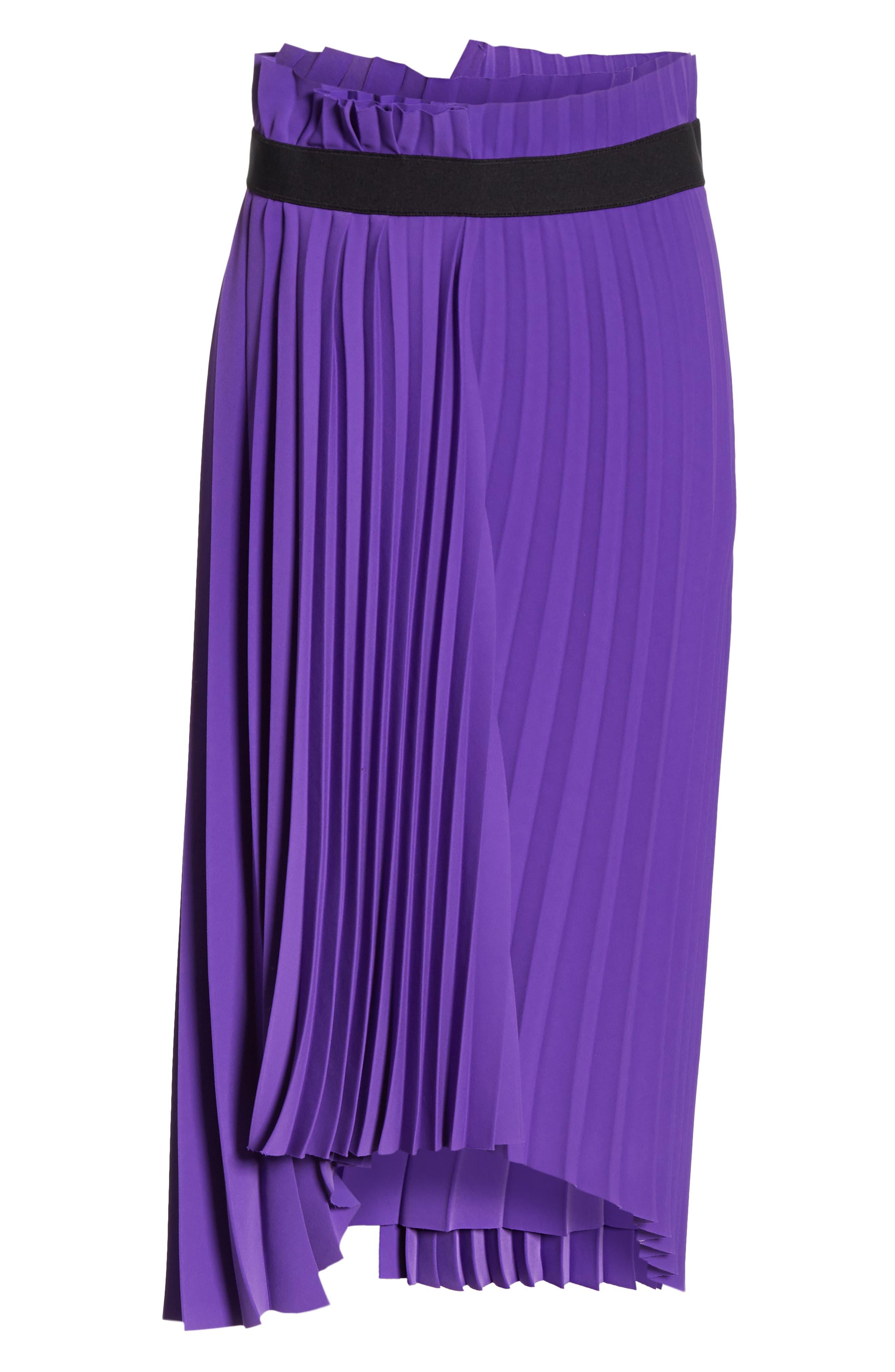 Fancy Asymmetrical Pleated Crepe Skirt,                             Alternate thumbnail 6, color,                             ULTRAVIOLET