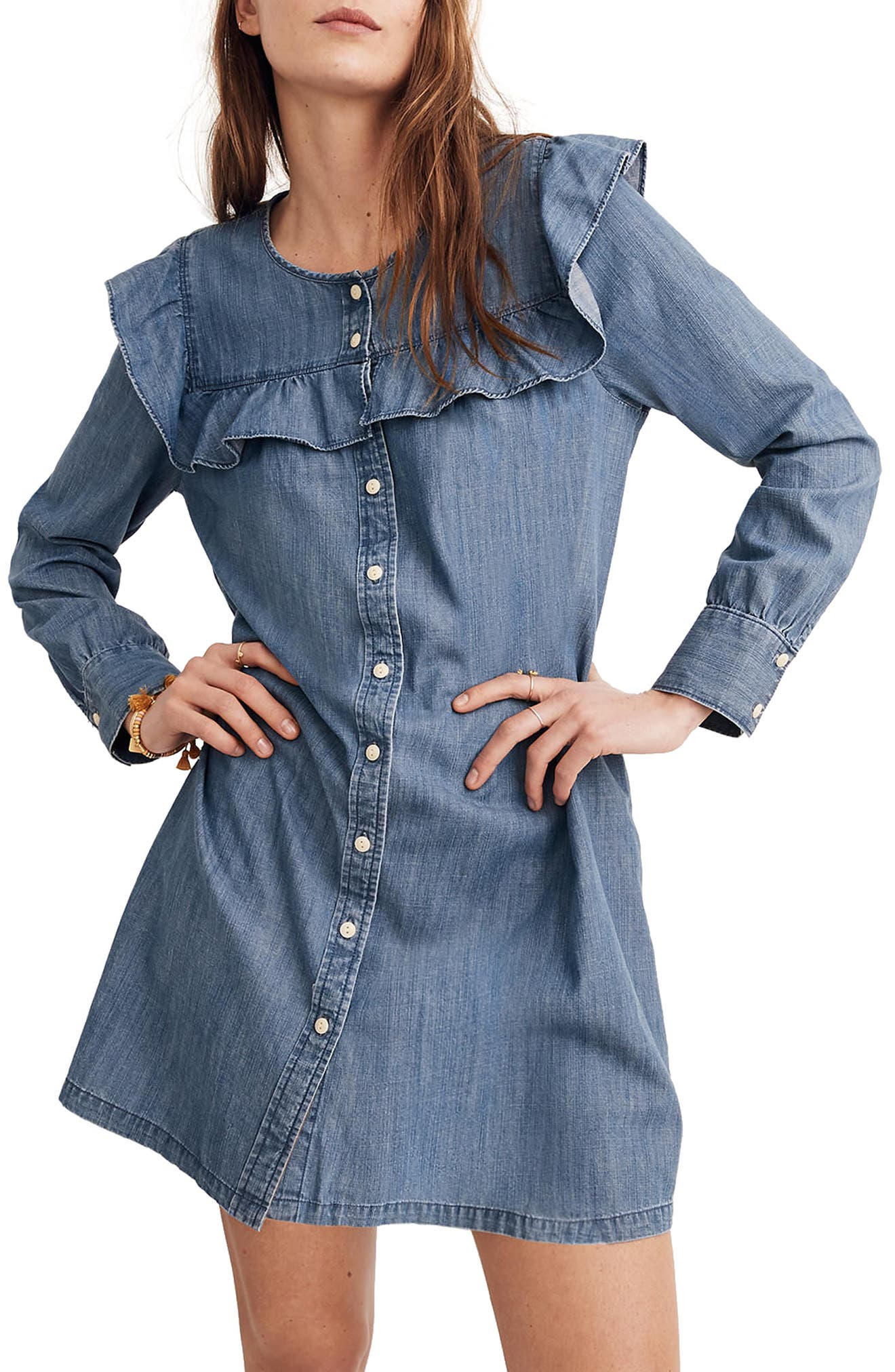 Ruffle Yoke Chambray Shirtdress,                             Alternate thumbnail 5, color,                             400