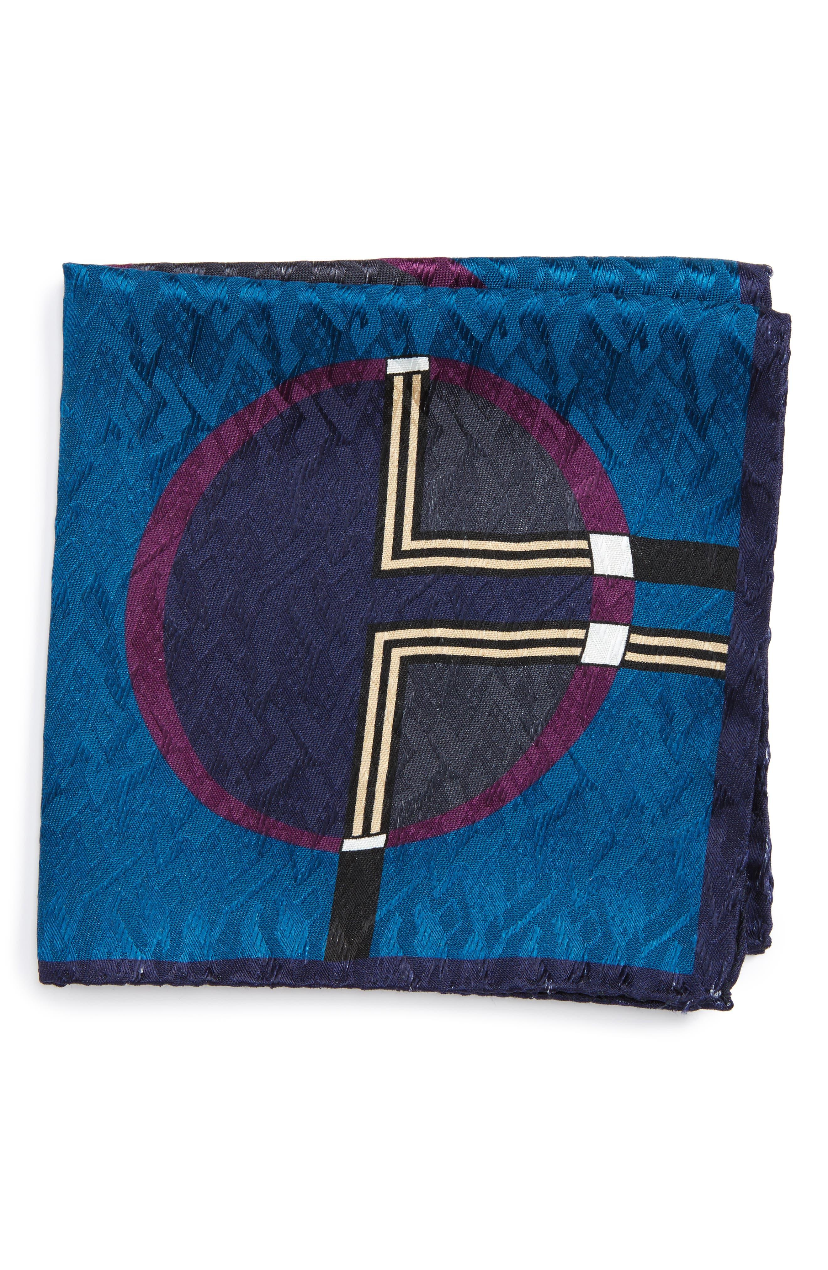 Dot Jacquard Silk Pocket Square,                         Main,                         color,