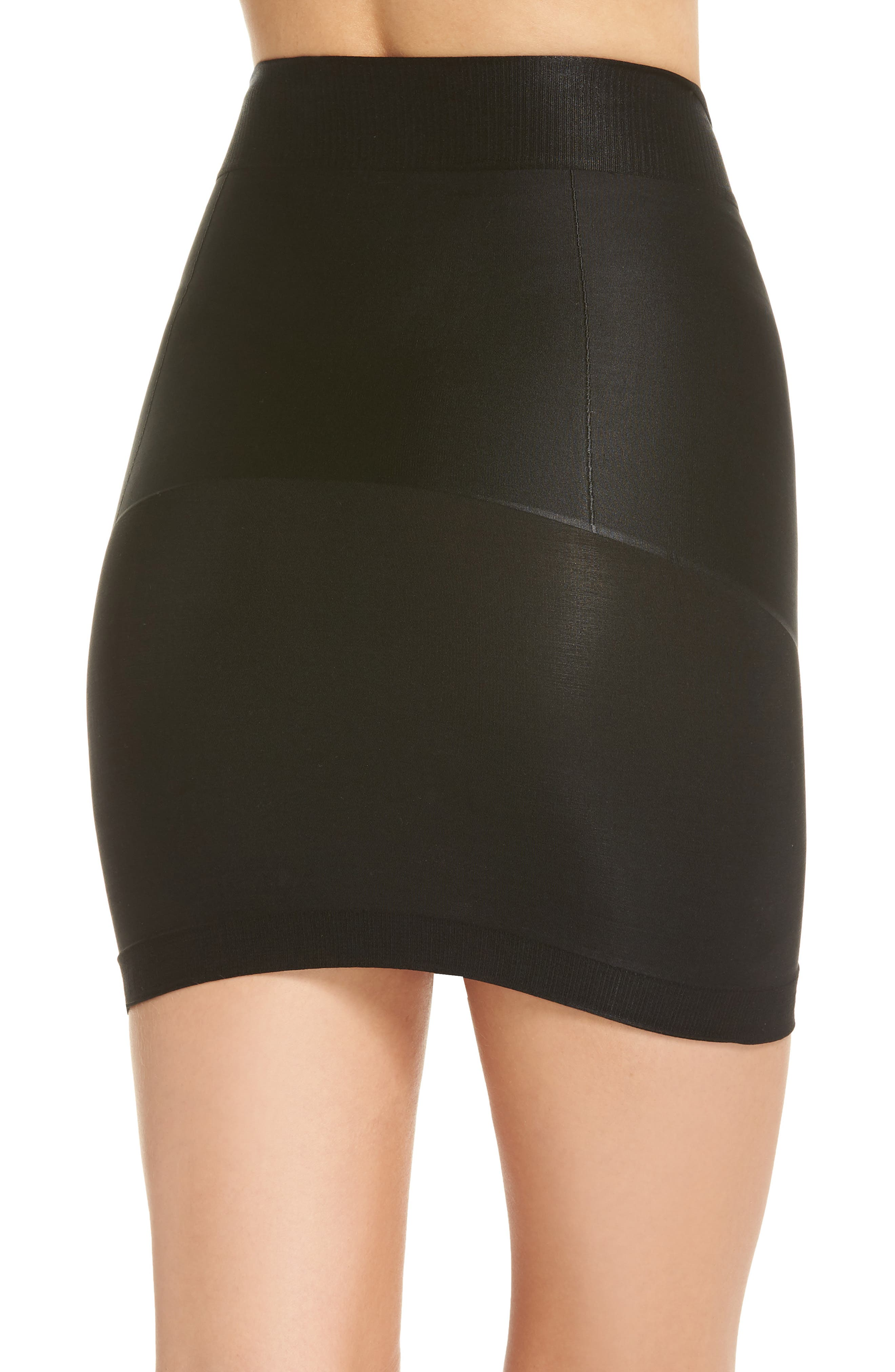Nouveau Mid Waist Skirt with Built-In Thong,                             Alternate thumbnail 2, color,                             BLACK