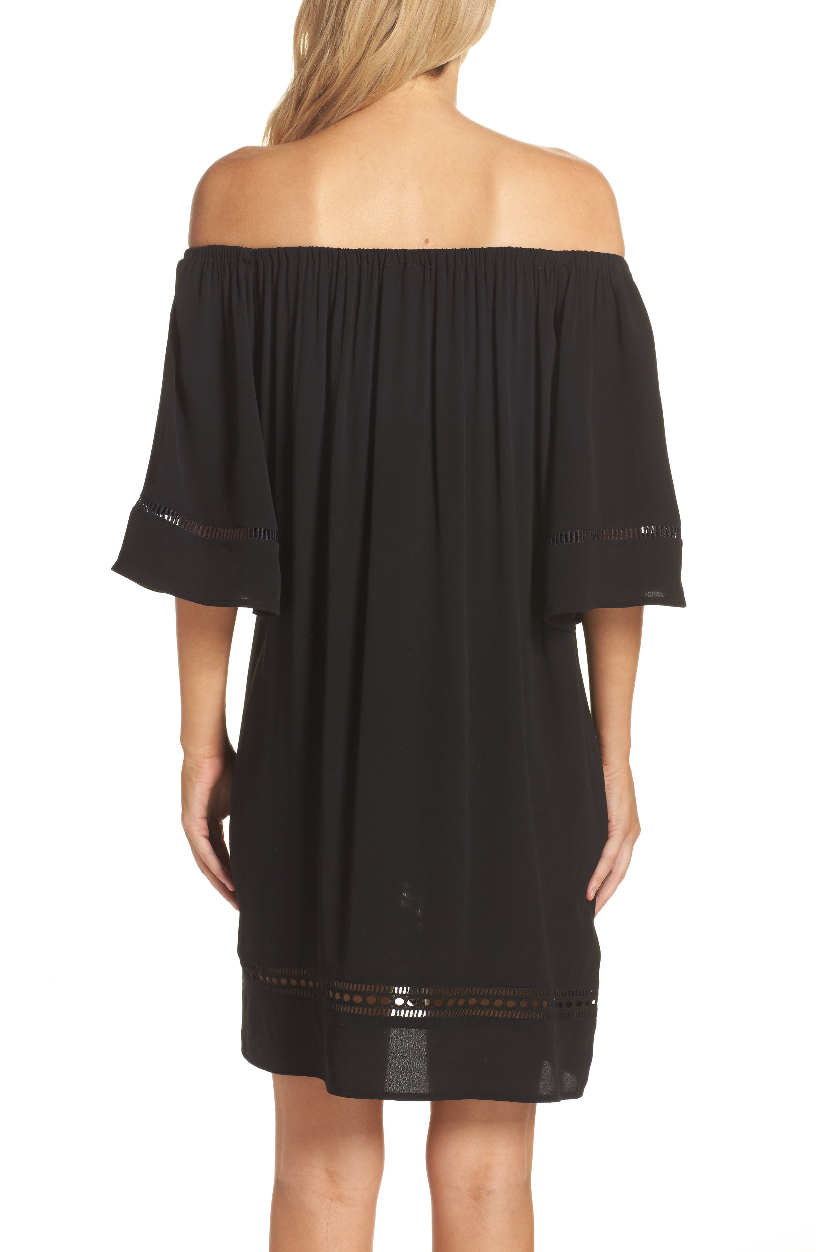 City Wide Off the Shoulder Cover-Up Dress,                             Alternate thumbnail 2, color,                             001