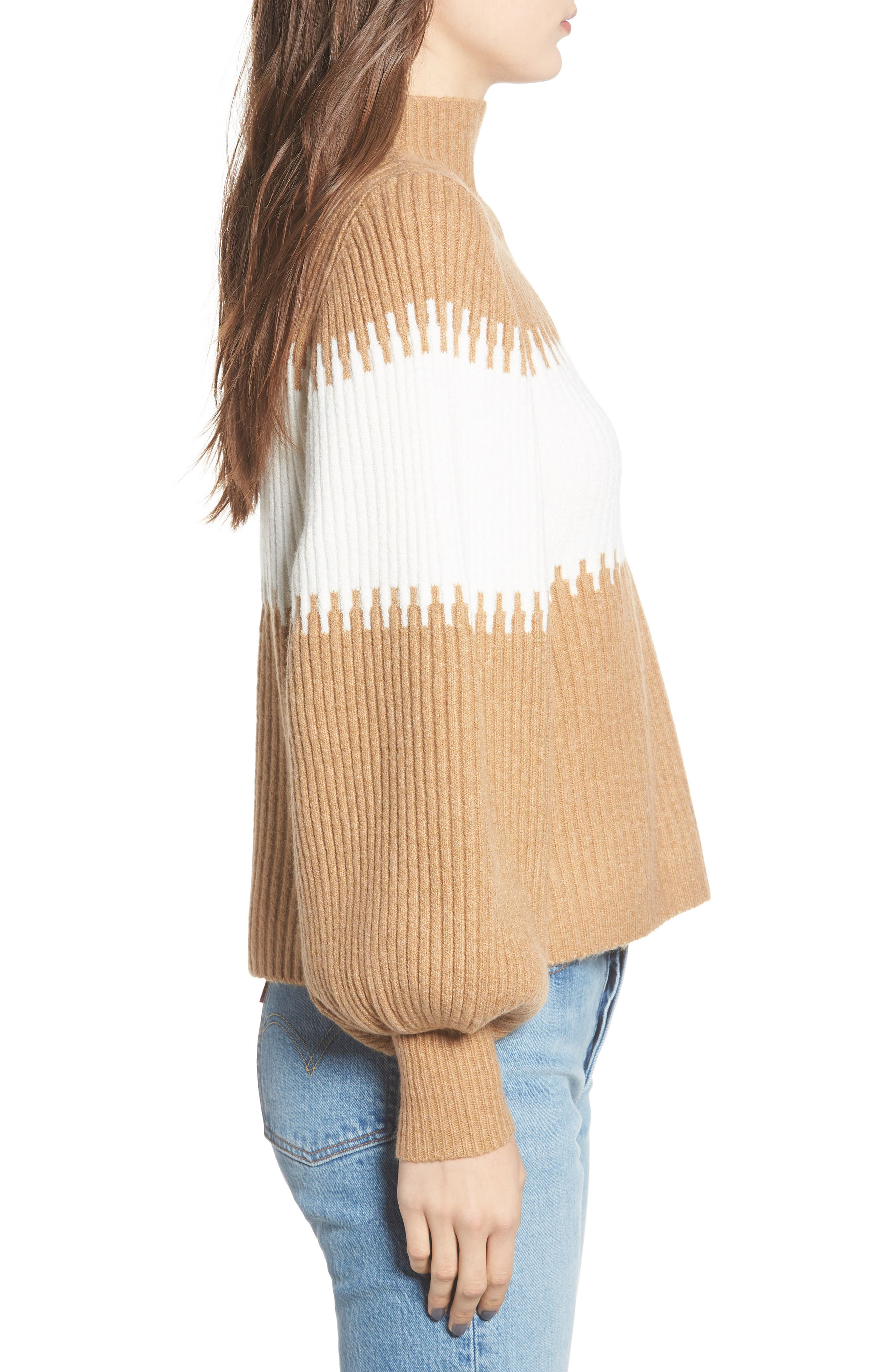 Sofia Funnel Neck Sweater,                             Alternate thumbnail 3, color,                             CAMEL/ WHITE
