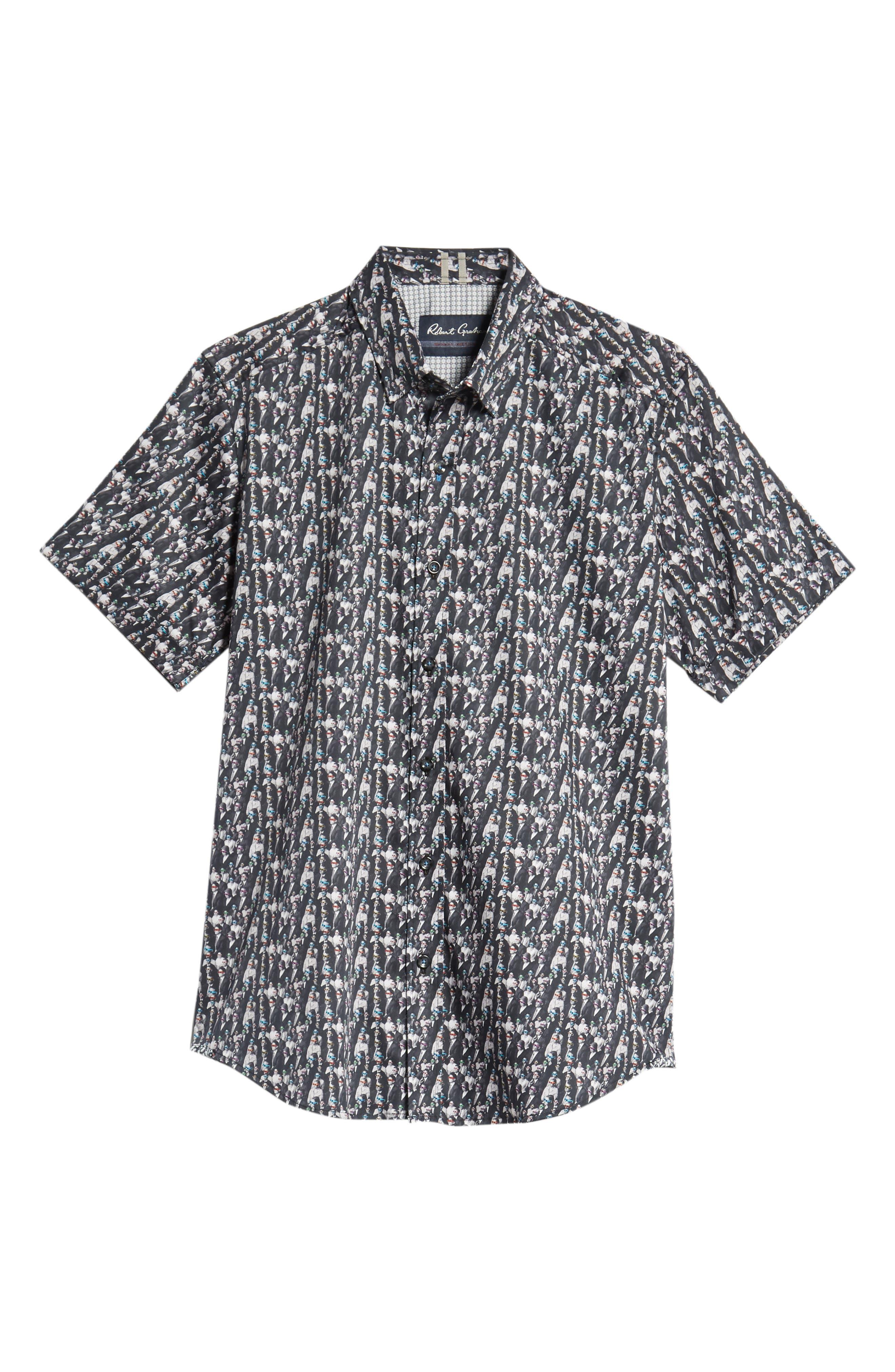 ROBERT GRAHAM,                             Cinema Tailored Fit Sport Shirt,                             Alternate thumbnail 5, color,                             001