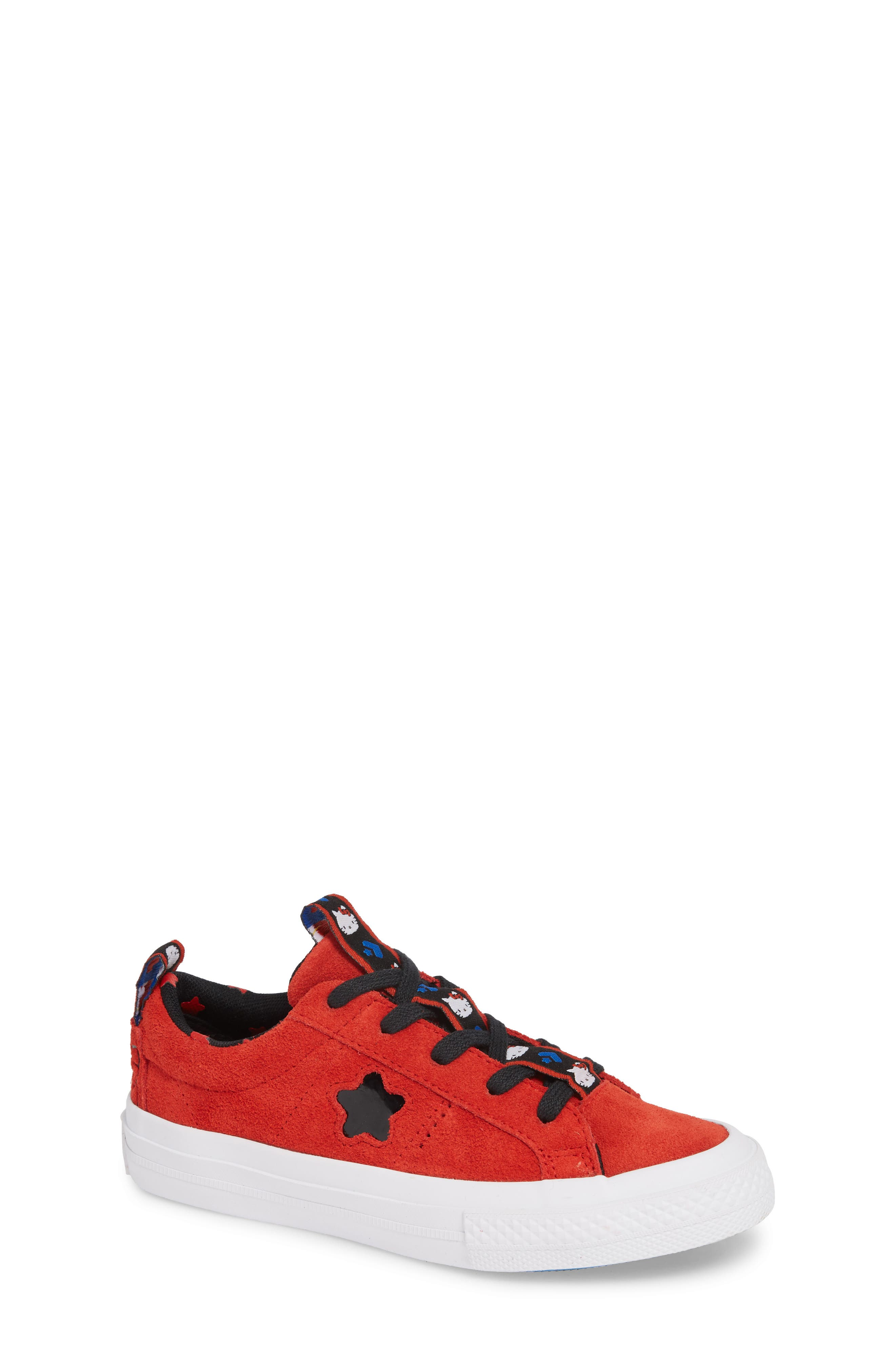 x Hello Kitty<sup>®</sup> One Star Low Top Sneaker,                             Main thumbnail 1, color,                             FIERY RED SUEDE