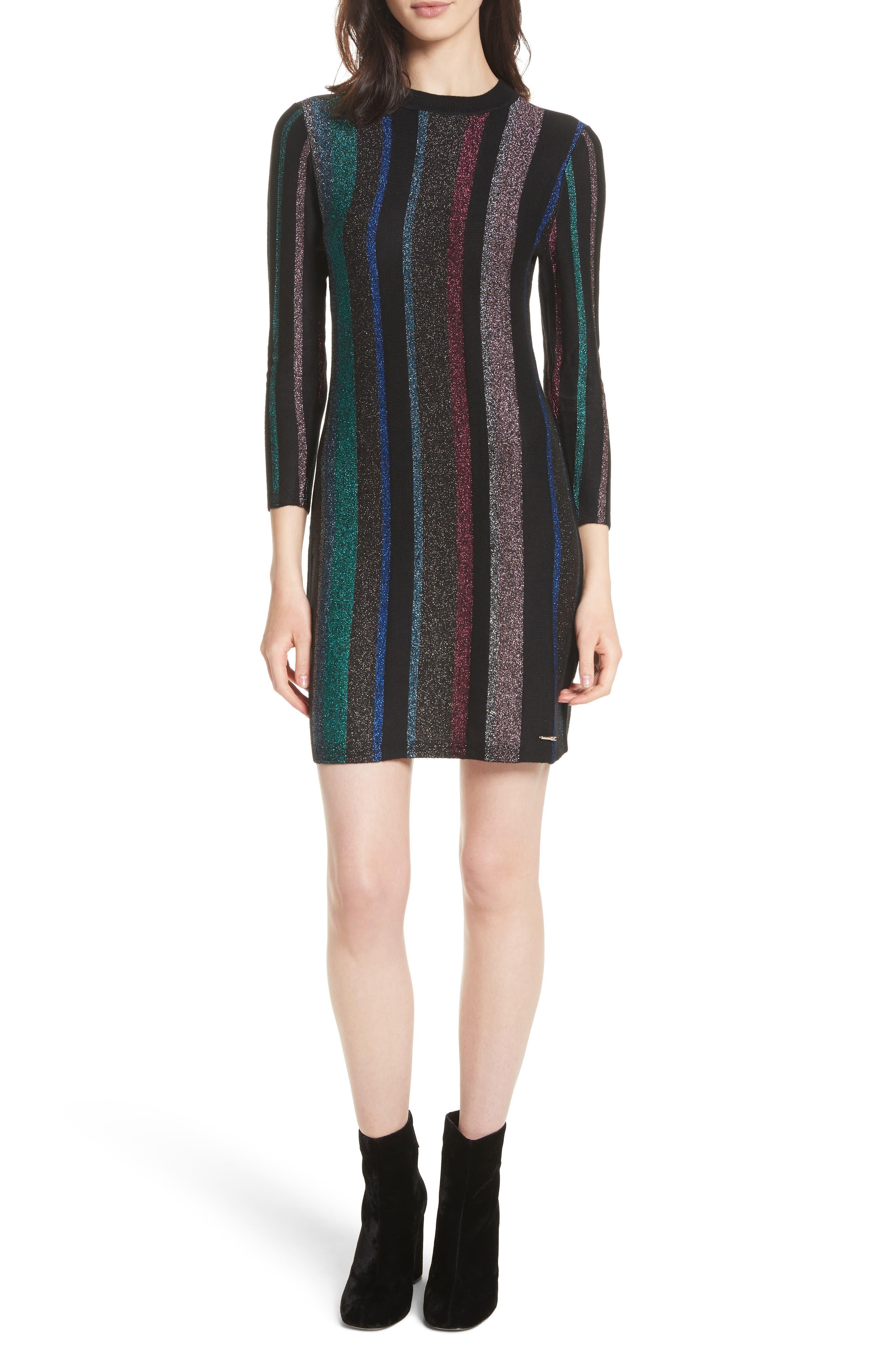 Metallic Stripe Body-Con Dress,                             Main thumbnail 1, color,                             001