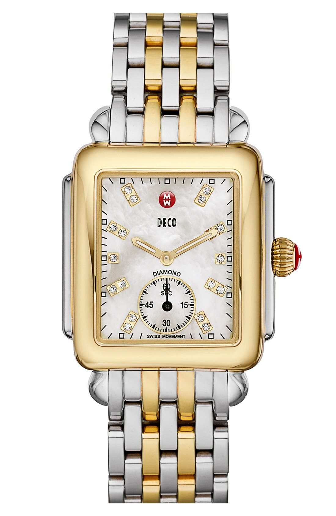 Deco 16 Diamond Dial Two-Tone Watch Case, 29mm x 31mm,                             Alternate thumbnail 2, color,                             GOLD/ SILVER