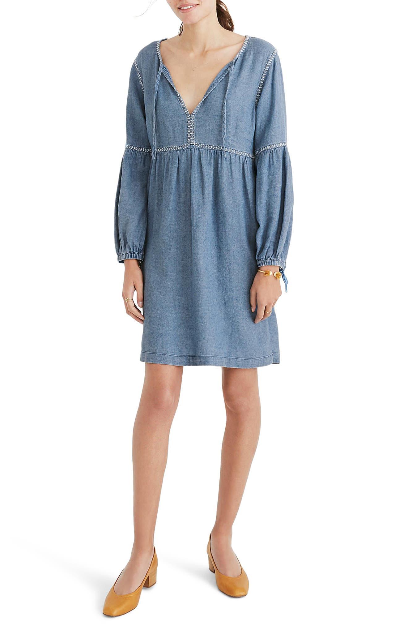 Indigo Peasant Dress,                             Main thumbnail 1, color,                             400