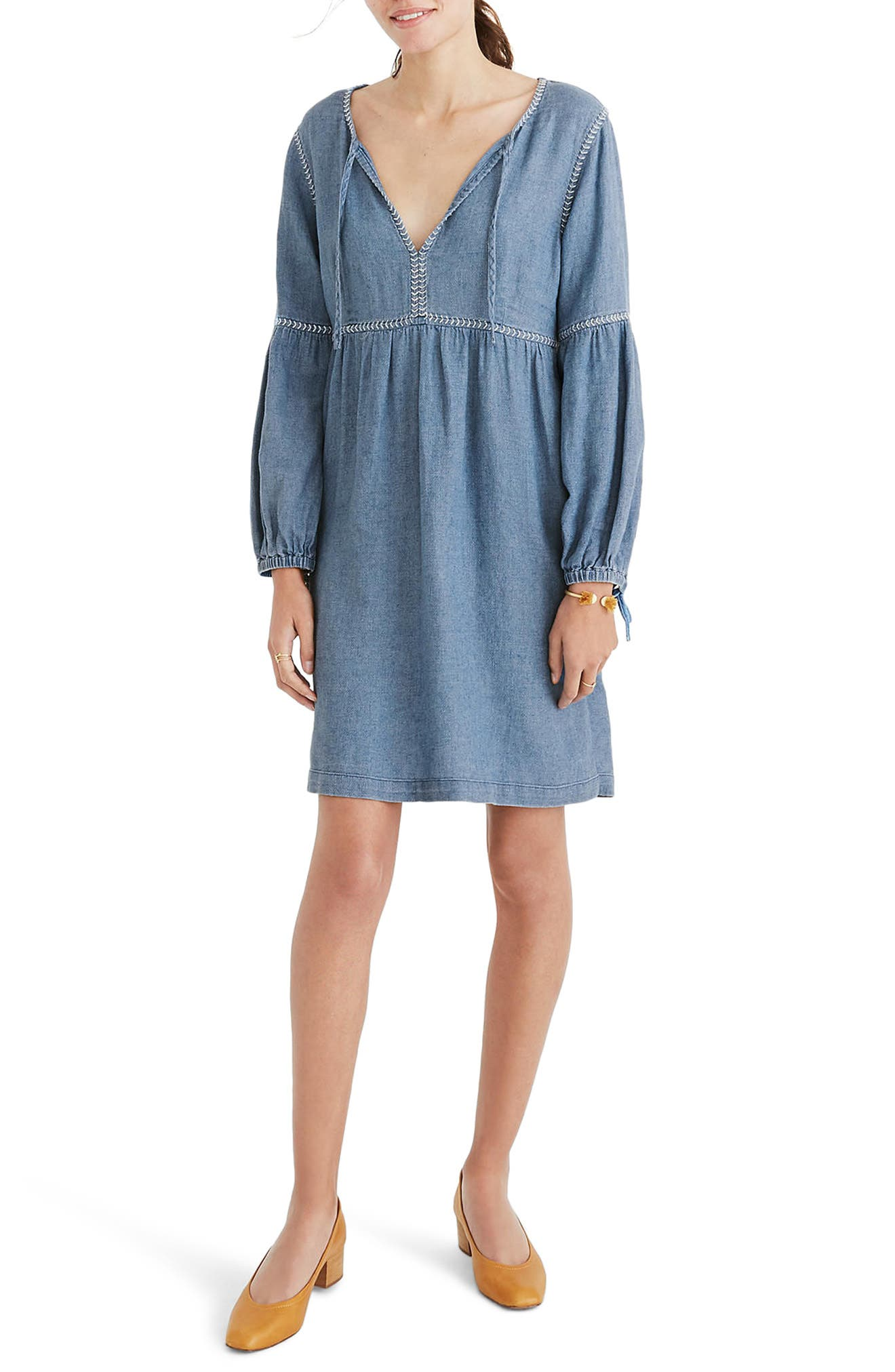 Indigo Peasant Dress,                         Main,                         color, 400