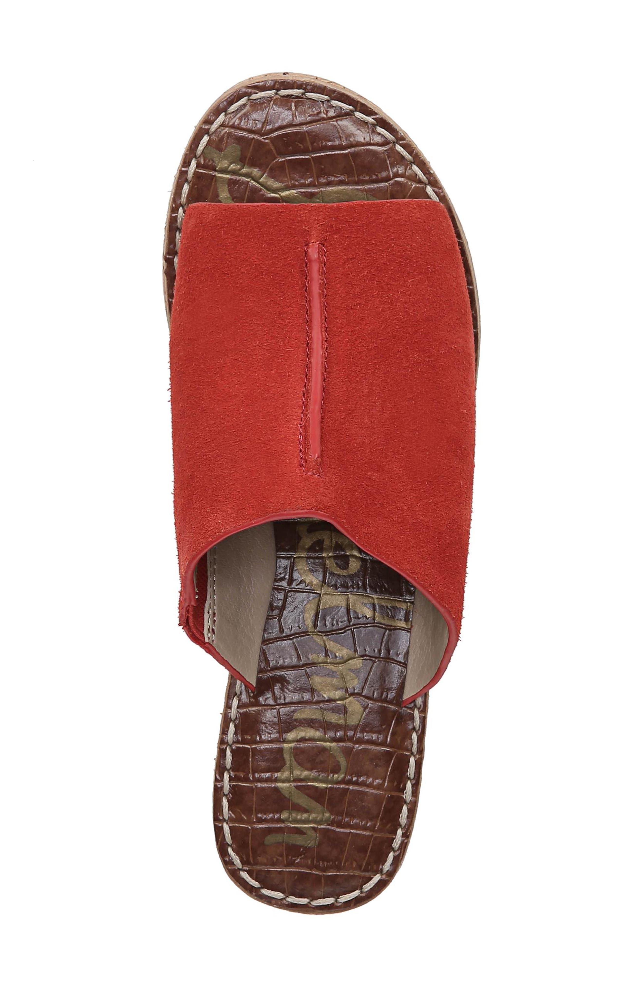Ranger Platform Sandal,                             Alternate thumbnail 5, color,                             CANDY RED SUEDE