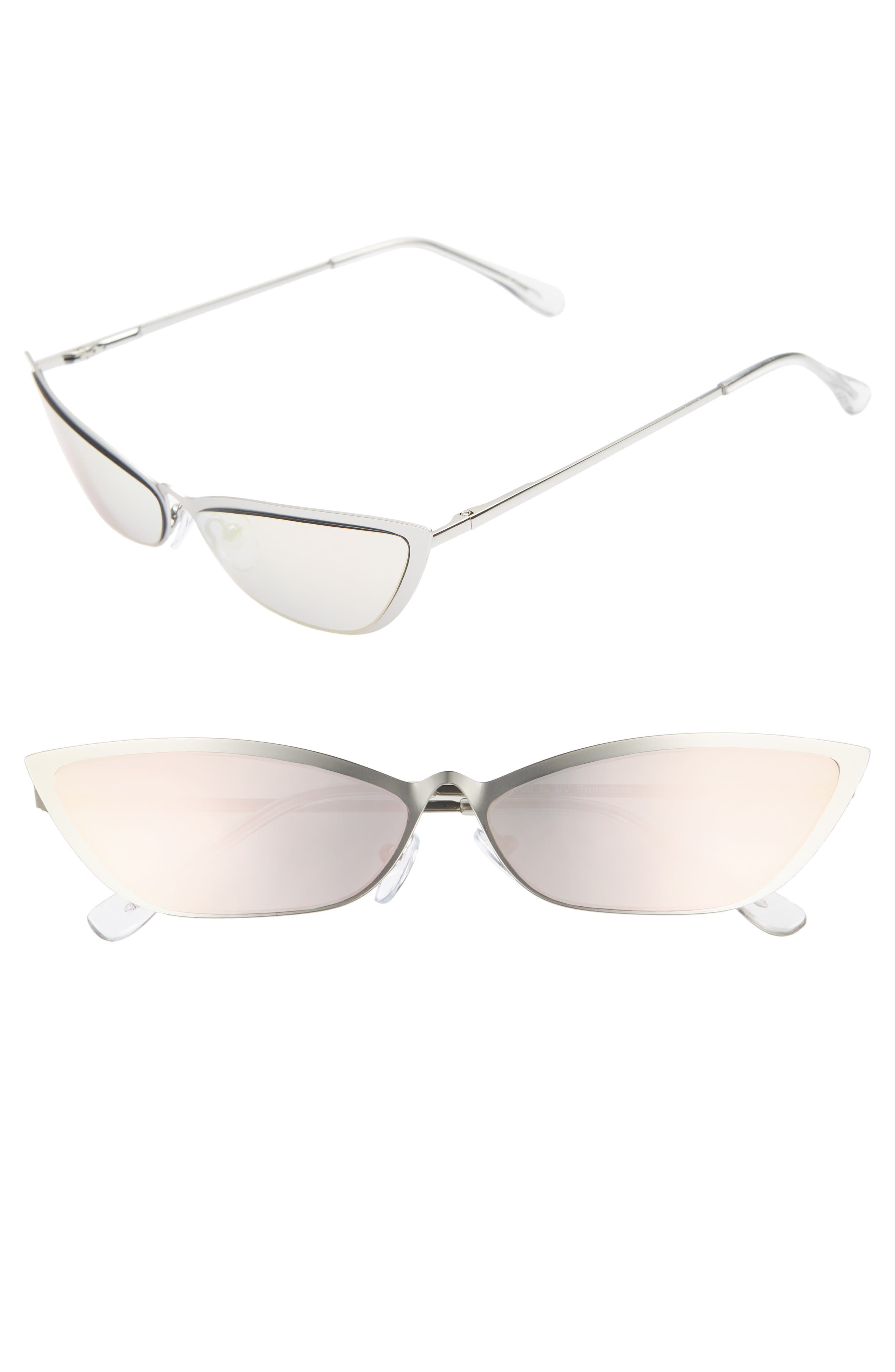 67mm Mirror Cat Eye Sunglasses,                             Main thumbnail 1, color,                             SILVER/ PINK