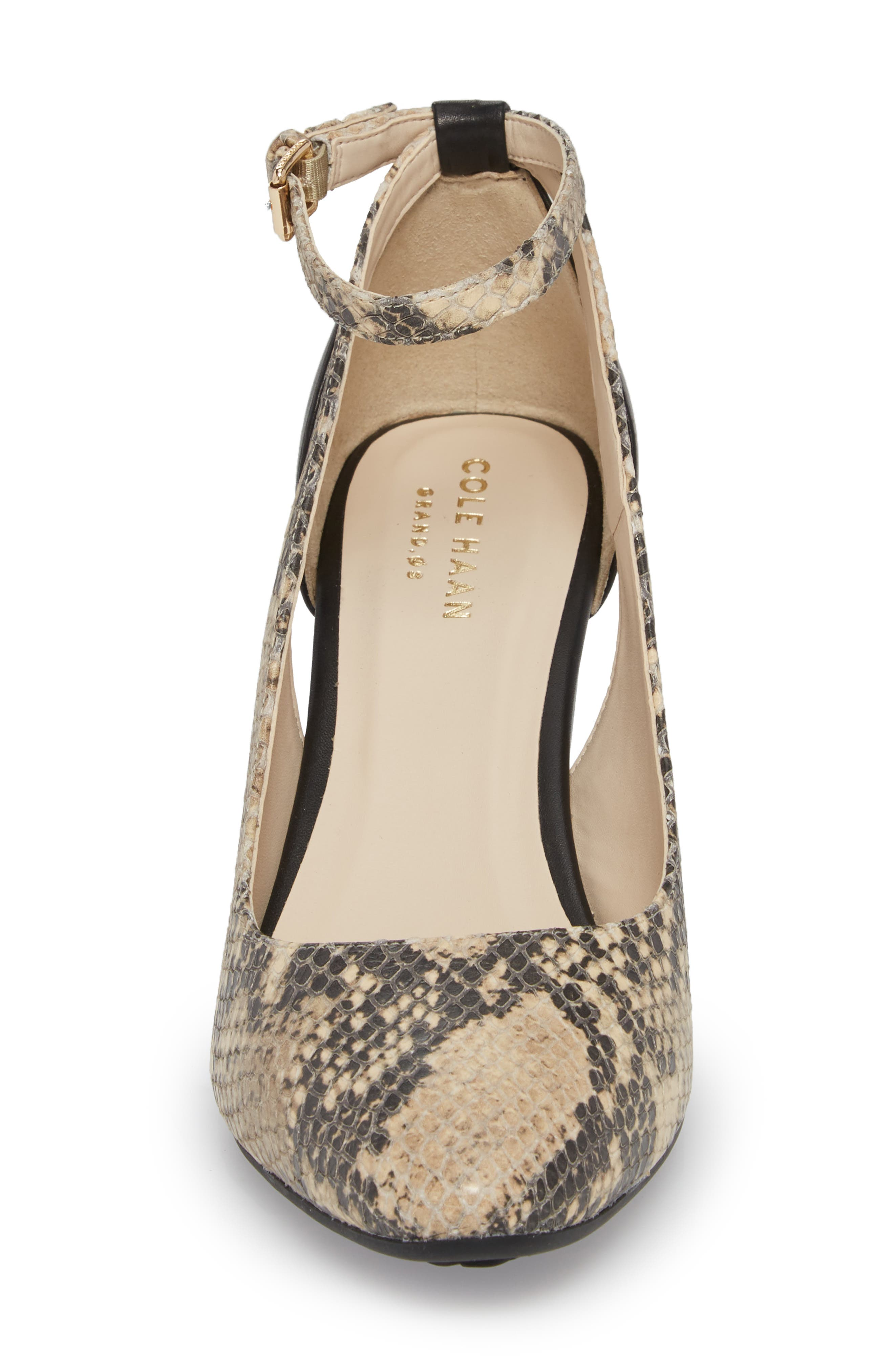Lacey Cutout Wedge Pump,                             Alternate thumbnail 4, color,                             SNAKE PRINT LEATHER