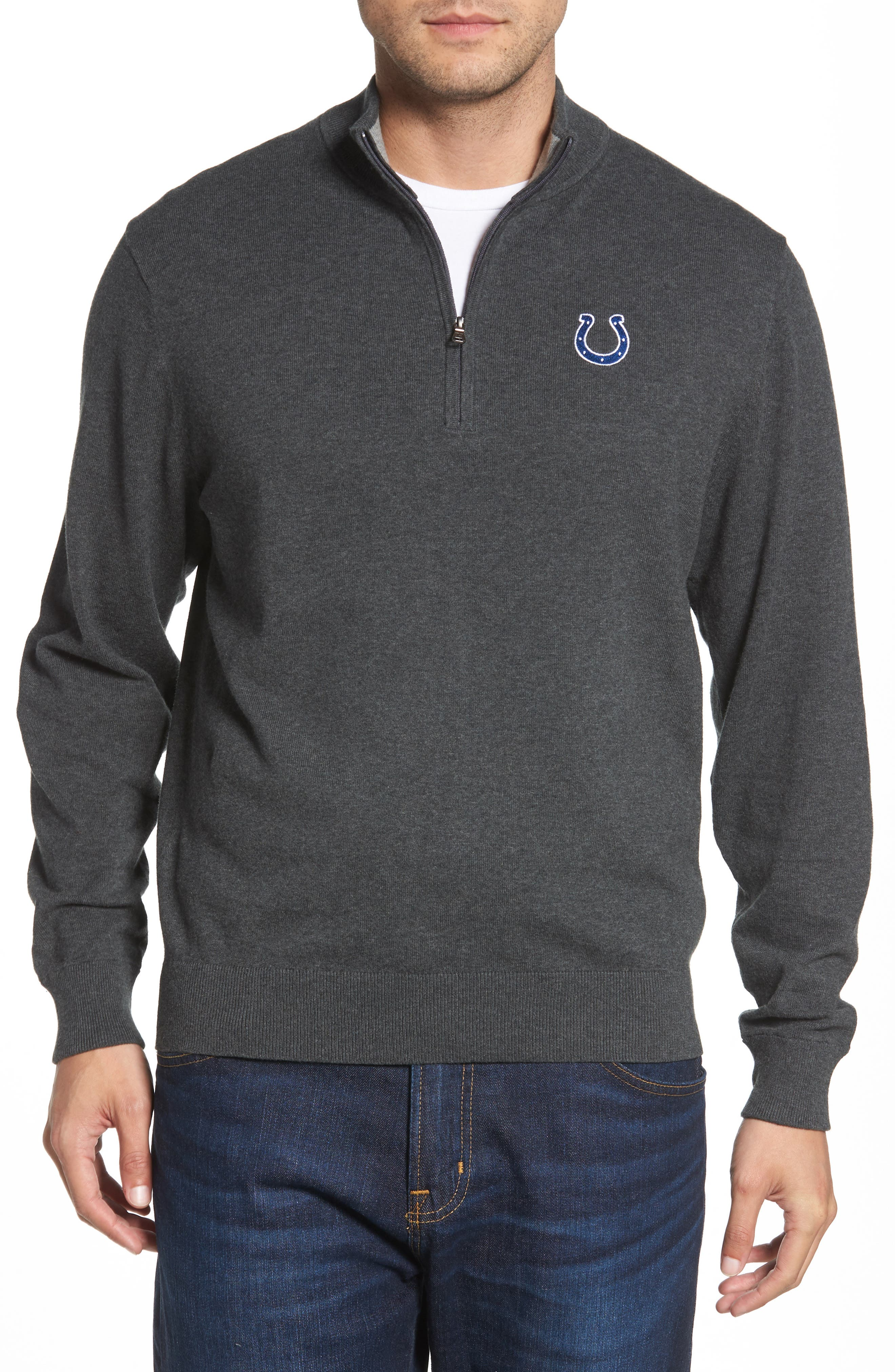 CUTTER & BUCK,                             Indianapolis Colts - Lakemont Regular Fit Quarter Zip Sweater,                             Main thumbnail 1, color,                             CHARCOAL HEATHER