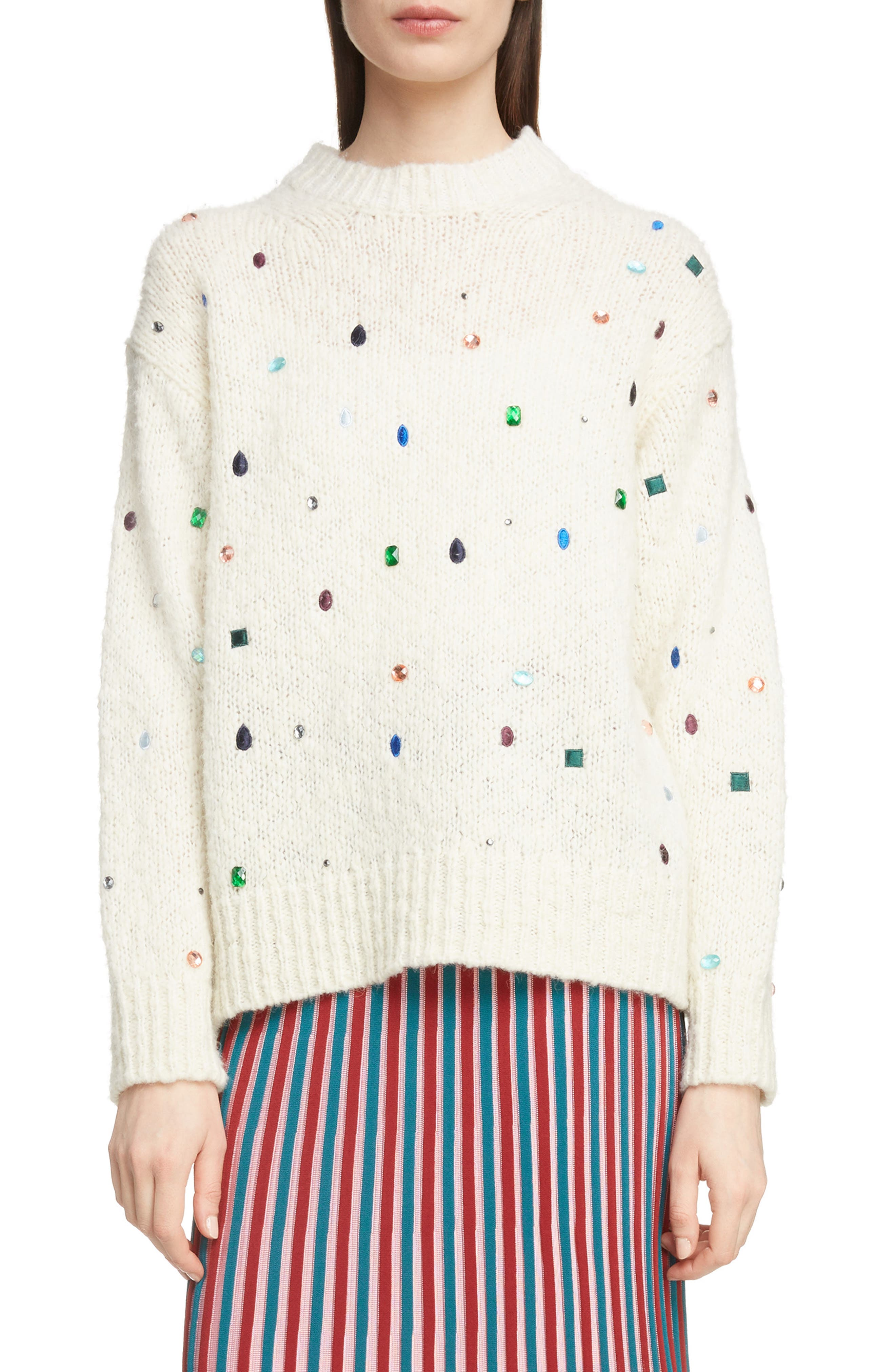 Embellished Comfort Sweater,                         Main,                         color, WHITE