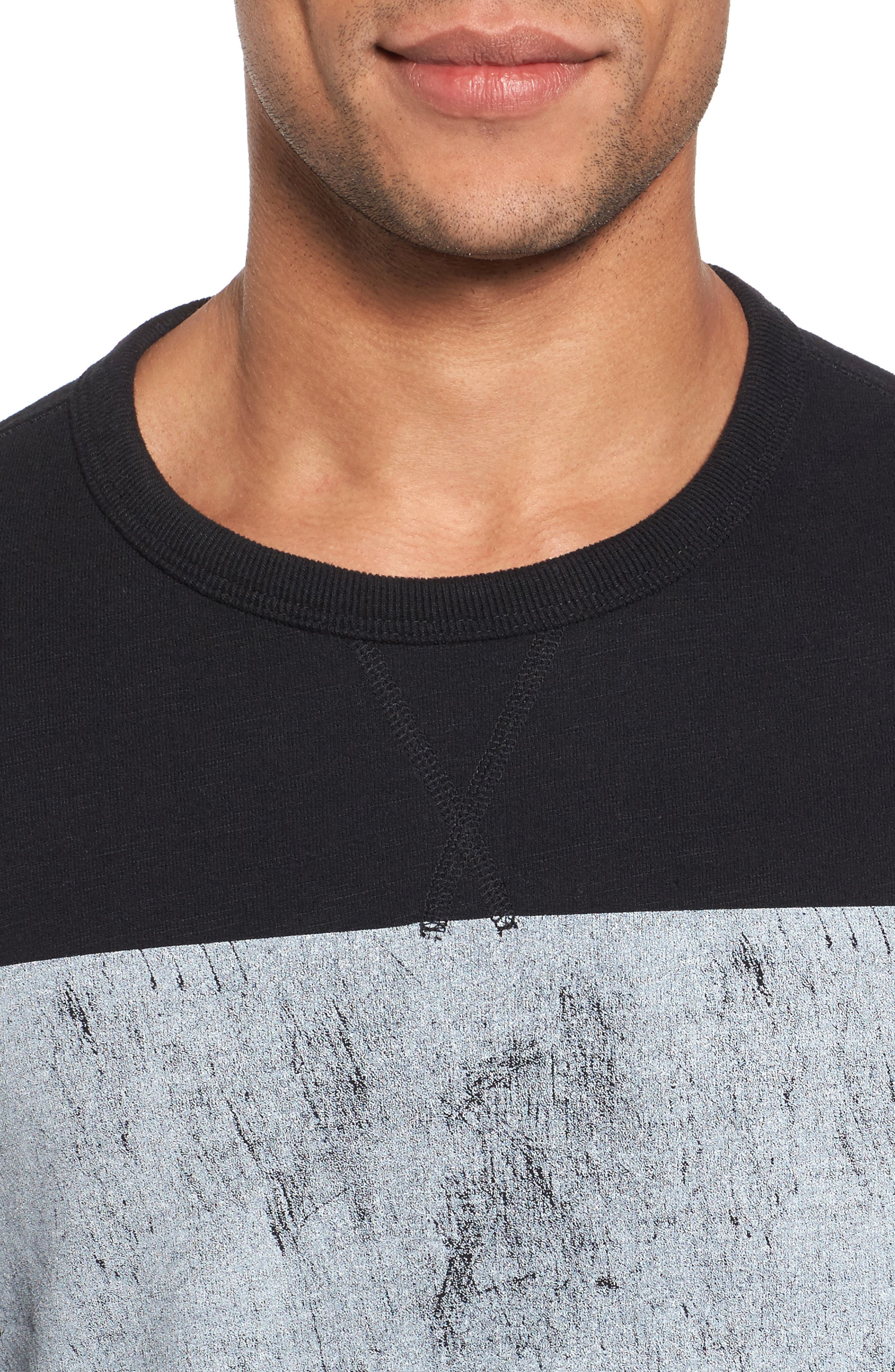 Distressed Print Slim Fit Crewneck T-Shirt,                             Alternate thumbnail 4, color,                             001