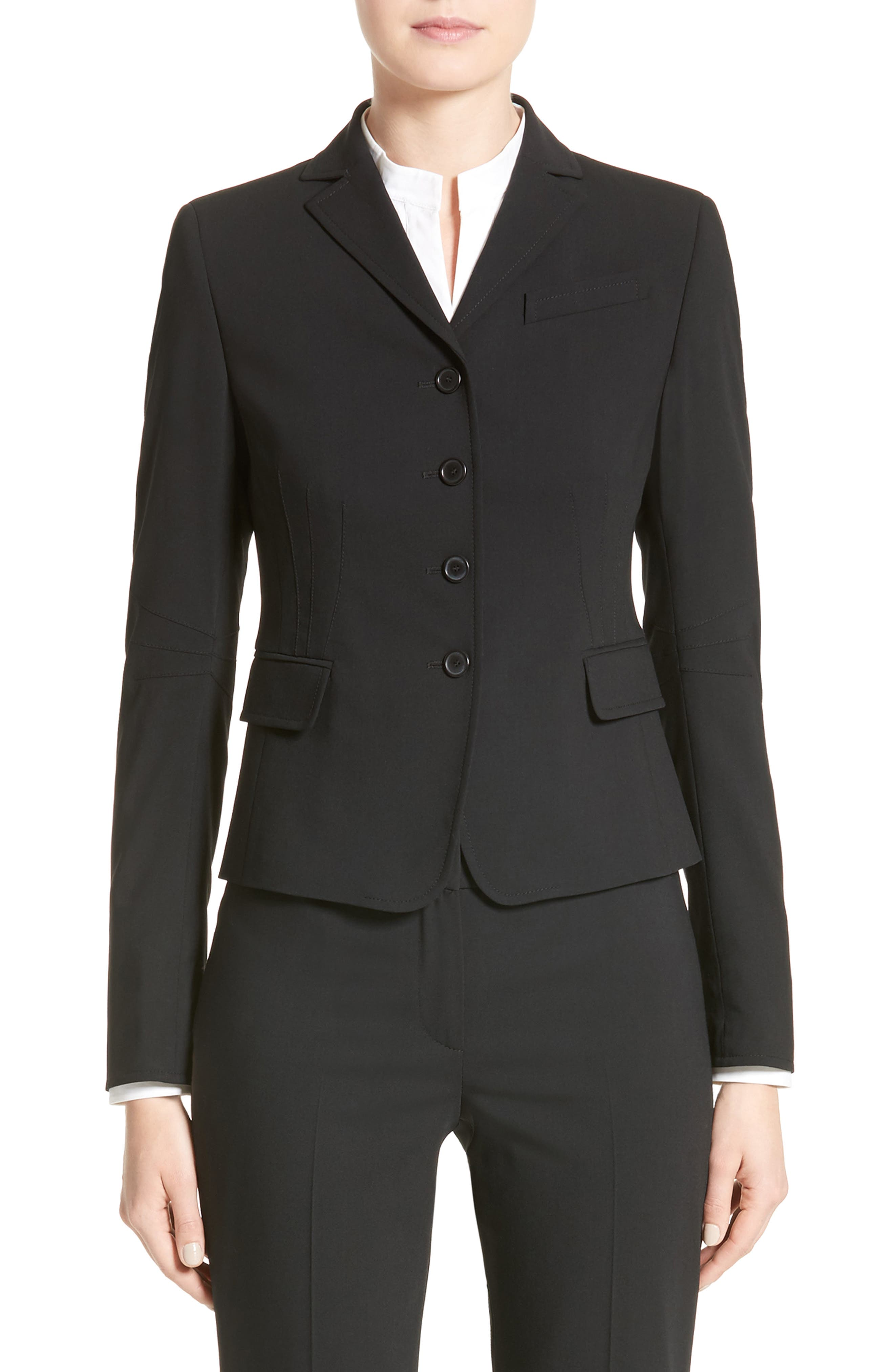 Fitted Wool Jacket,                             Alternate thumbnail 2, color,                             BLACK