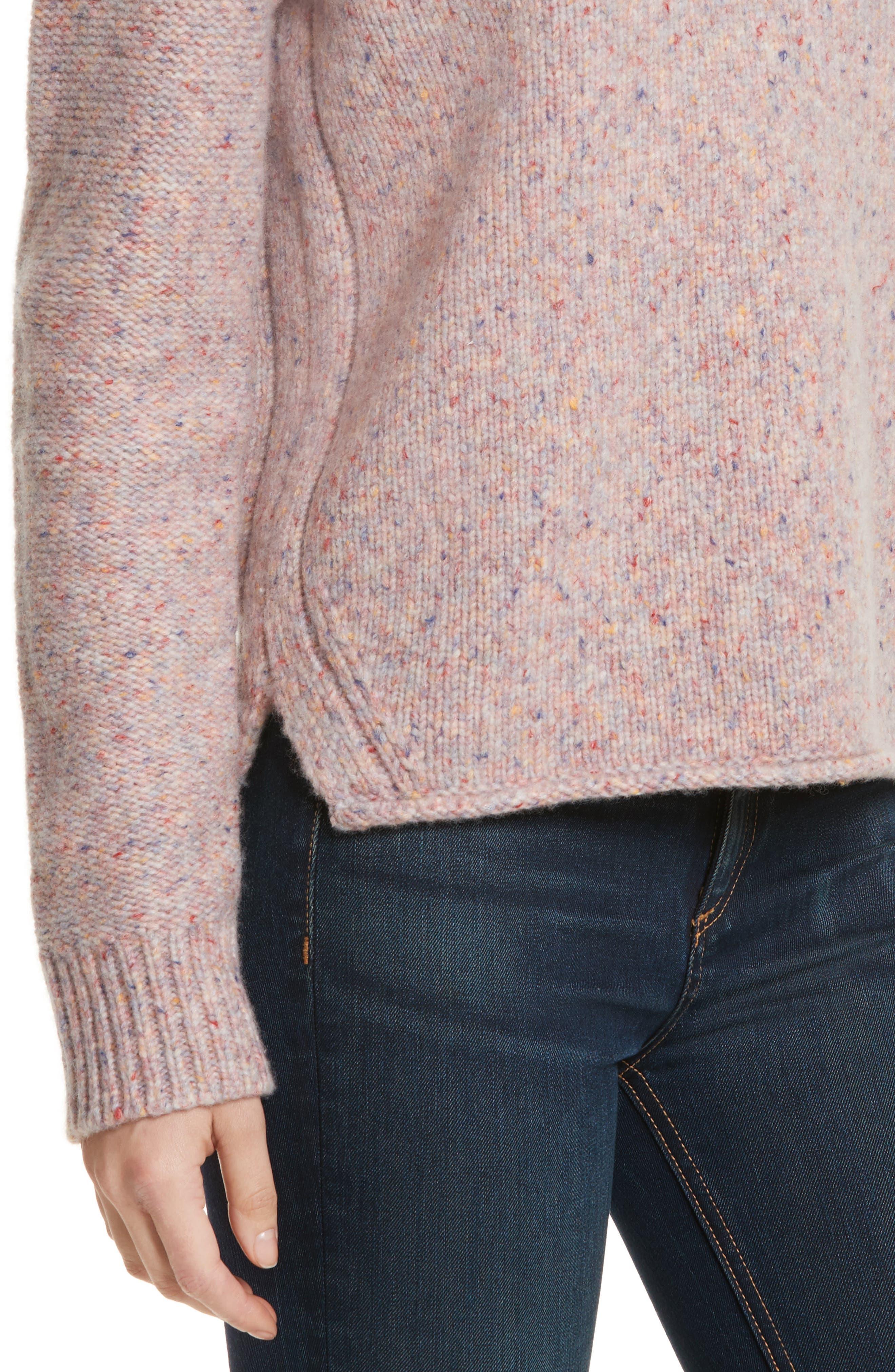 Francie Suede Trim Wool Blend Sweater,                             Alternate thumbnail 4, color,                             691