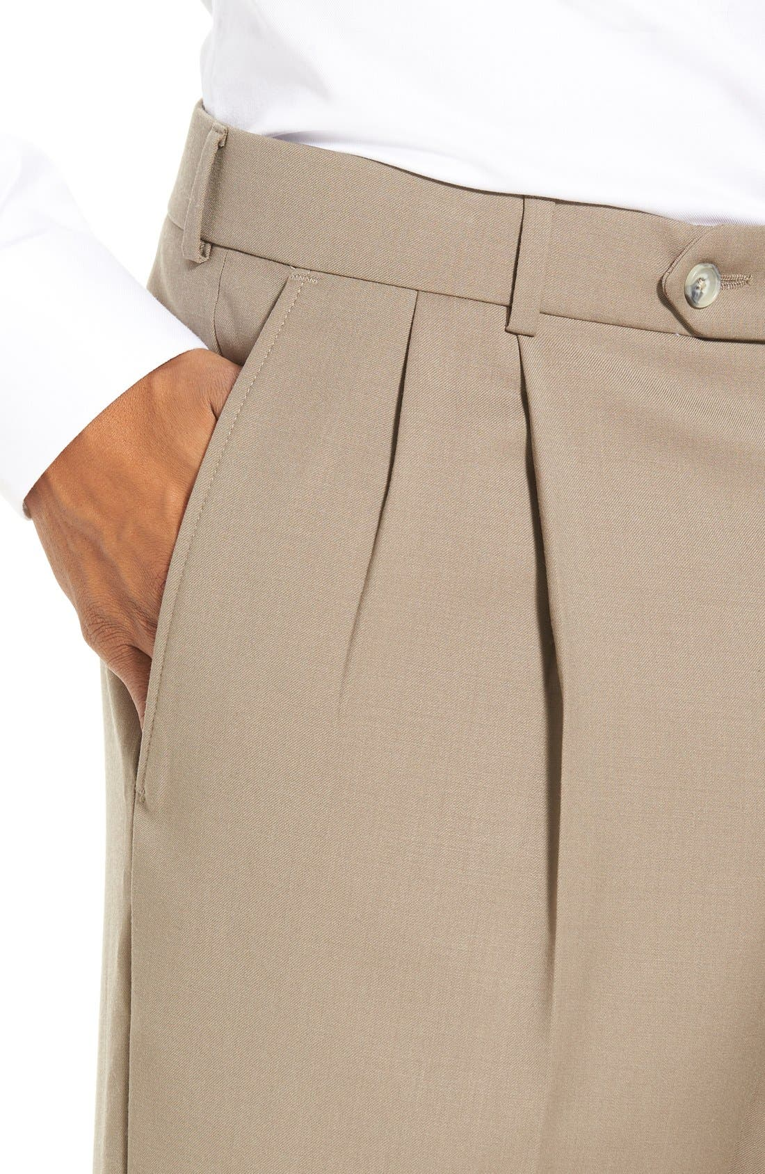 Pleated Solid Wool Trousers,                             Alternate thumbnail 49, color,