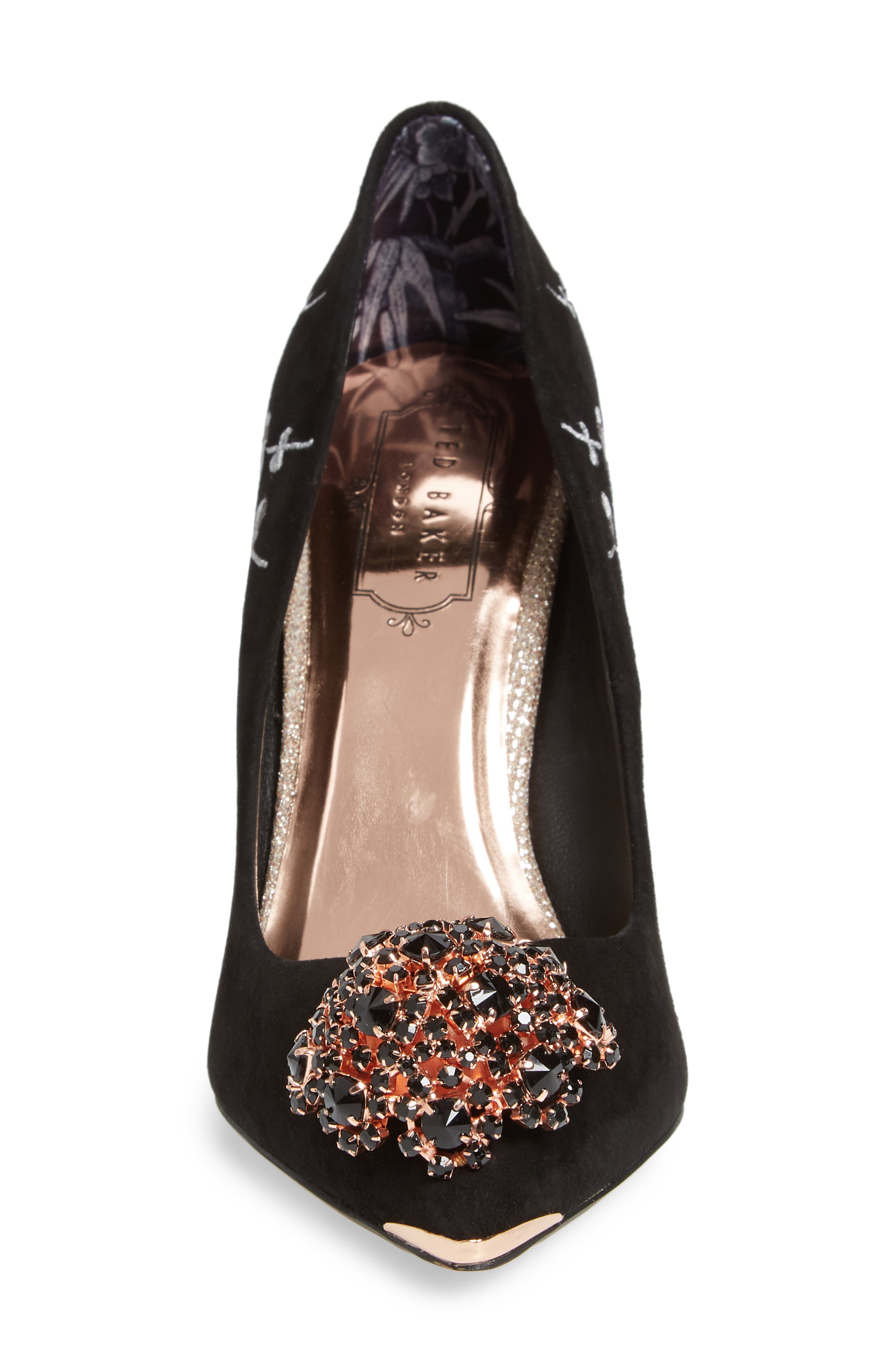 Peetchv Embroidered Pump,                             Alternate thumbnail 4, color,                             BLACK SUEDE