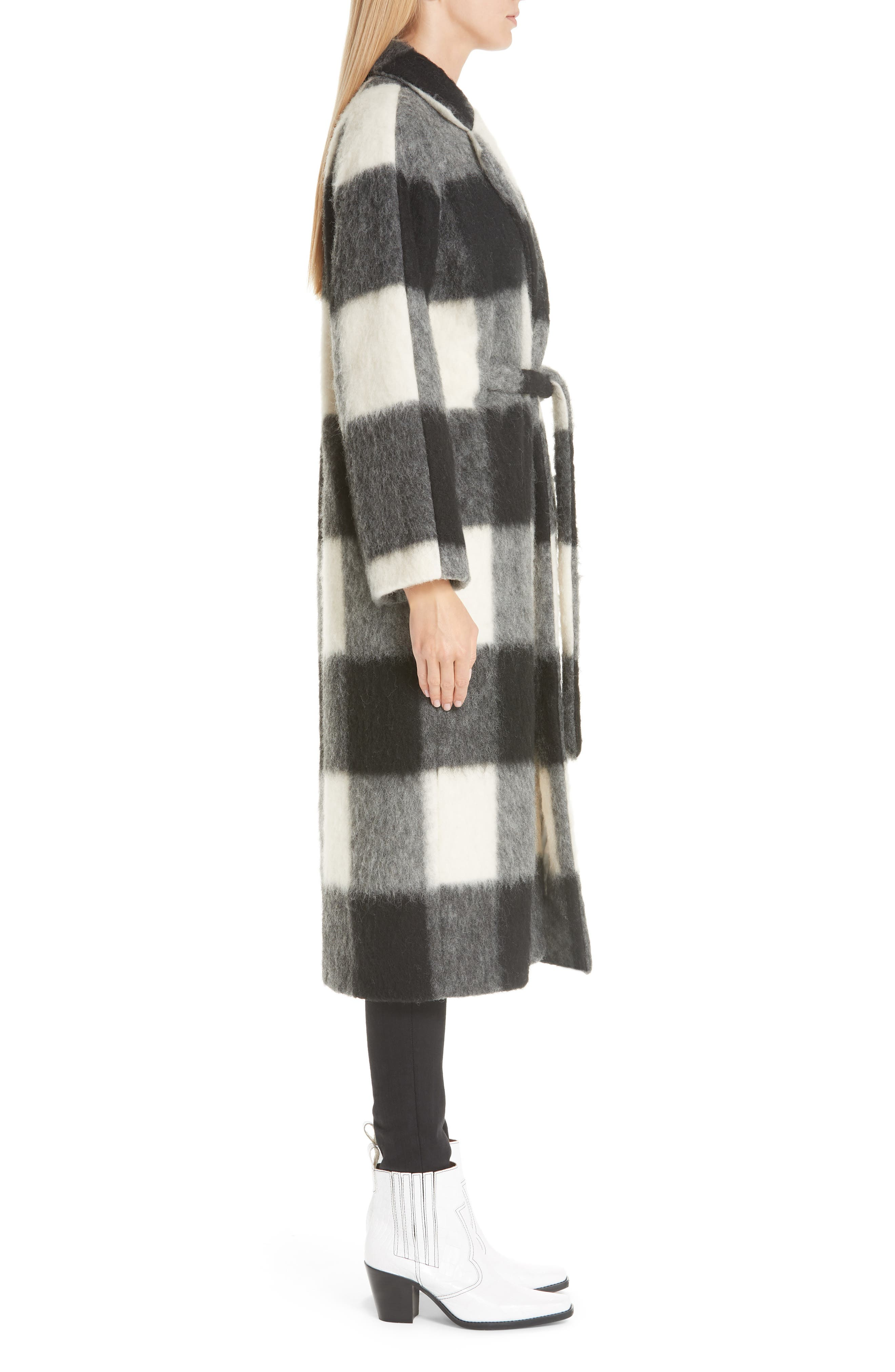 Pattern Wool Blend Coat,                             Alternate thumbnail 3, color,                             900