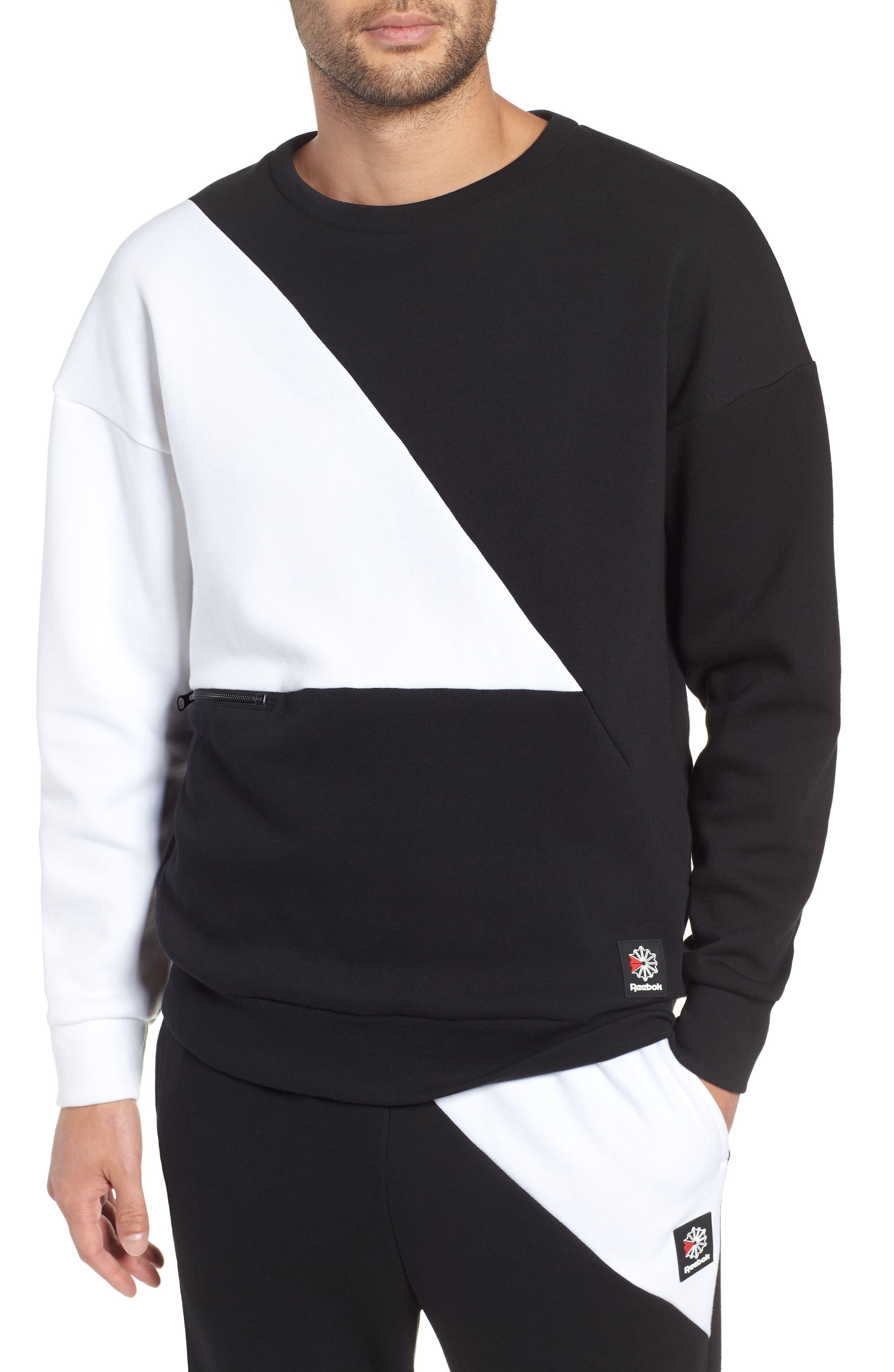 Colorblock Crewneck Pullover,                         Main,                         color, BLACK/WHITE