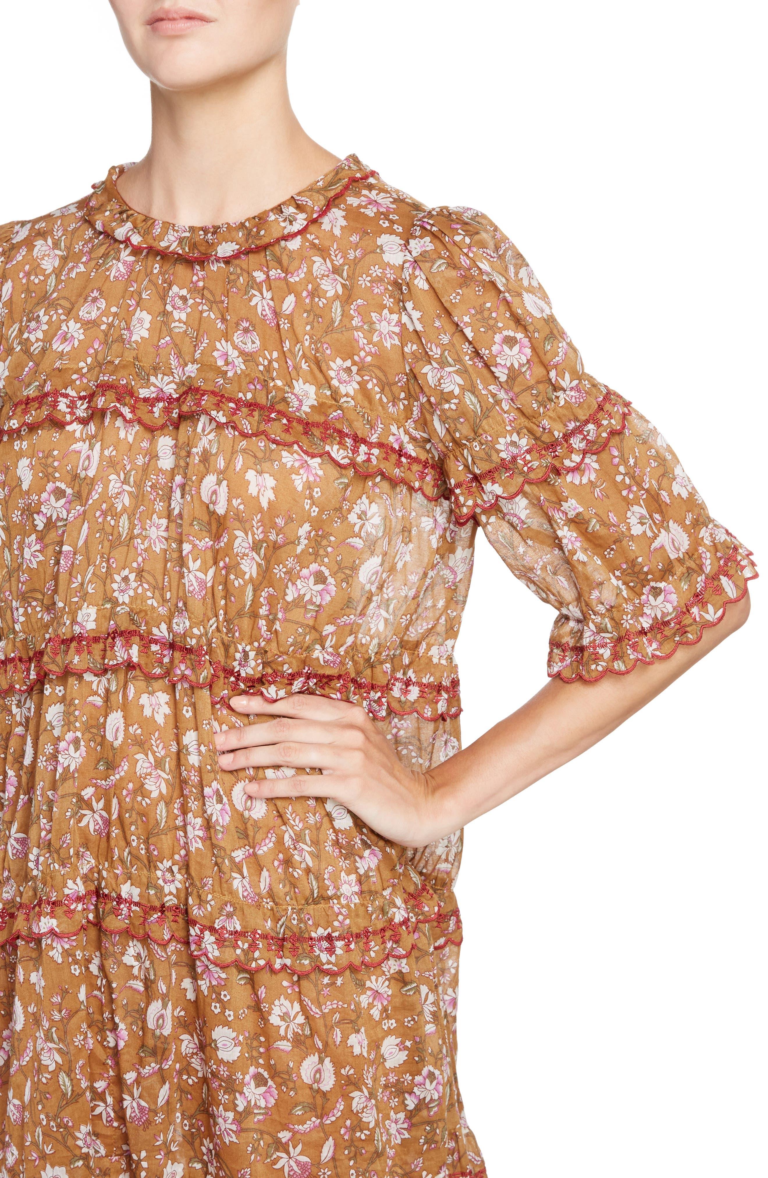 Isabel Marant Étoile Maiwenn Floral Print Cotton Dress,                             Alternate thumbnail 4, color,                             800