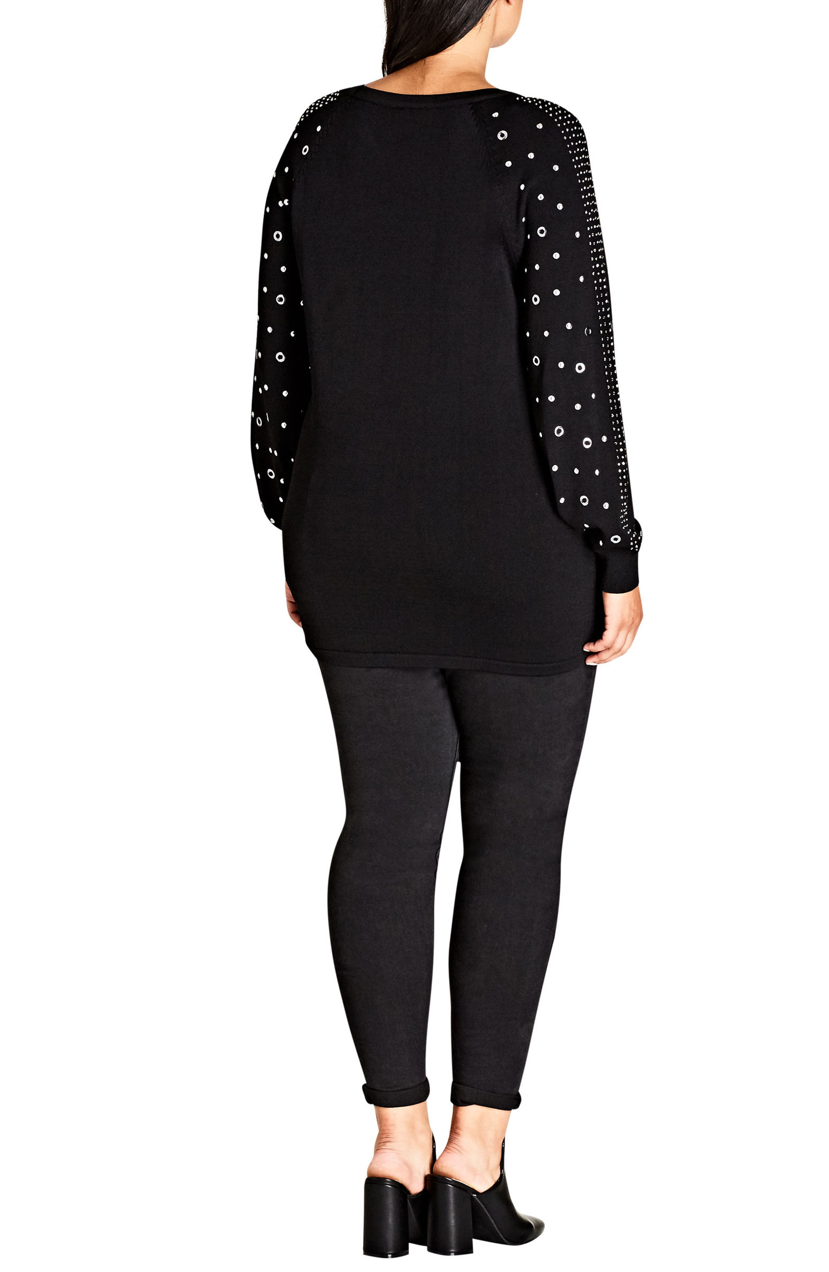 Studded Sleeve Sweatshirt,                             Alternate thumbnail 2, color,                             001