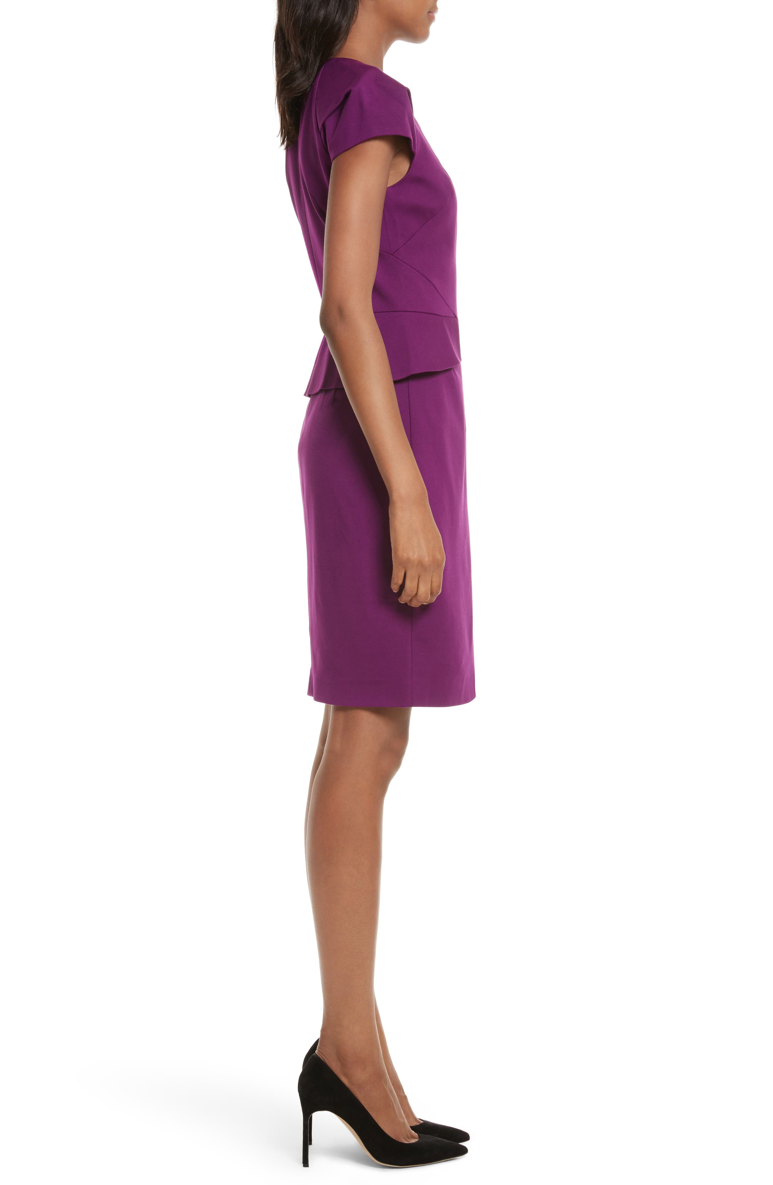 Fidelle Structured Peplum Dress,                             Alternate thumbnail 3, color,                             501
