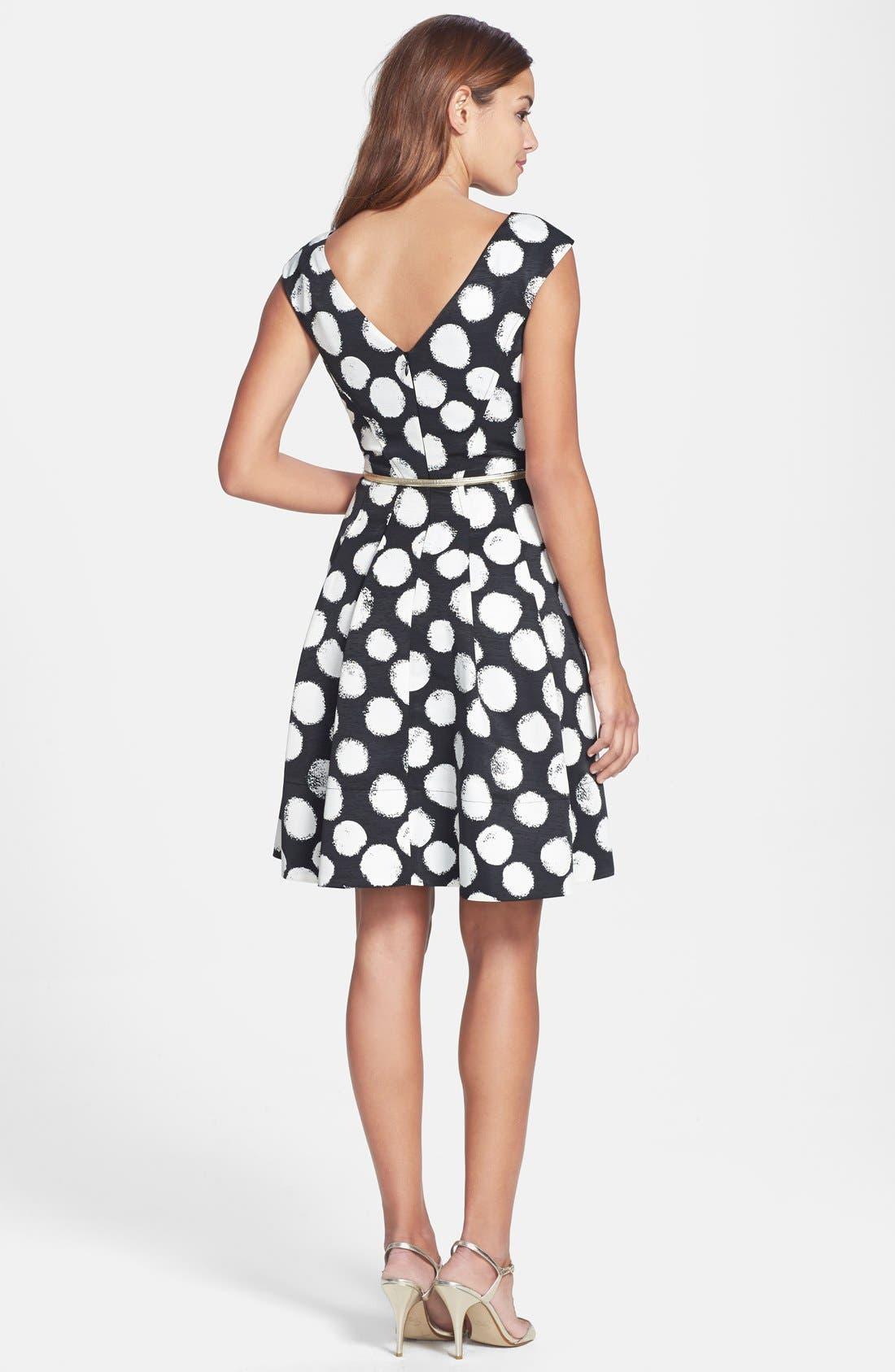 ELIZA J,                             Polka Dot Faille Fit & Flare Dress,                             Alternate thumbnail 4, color,                             001