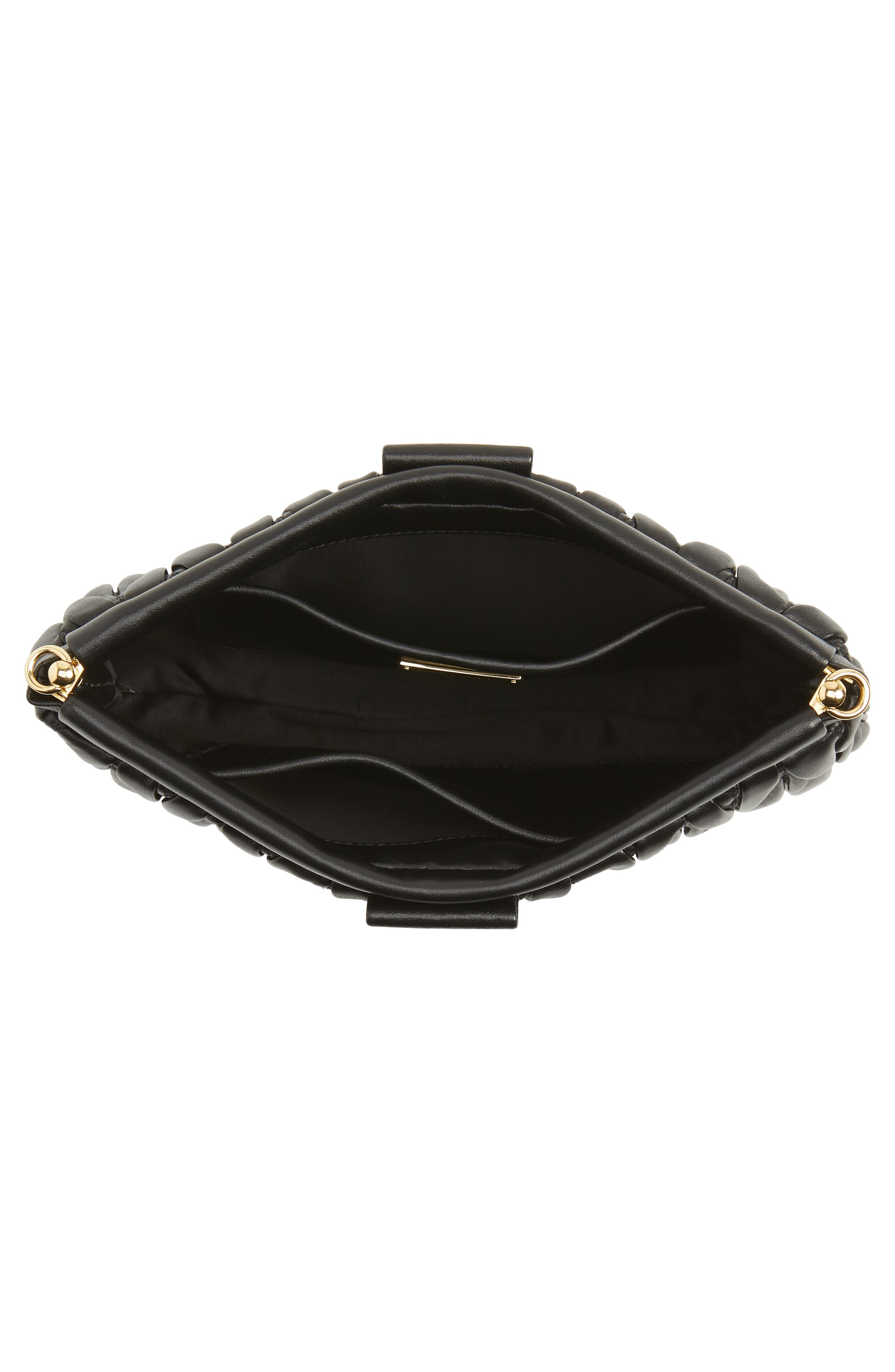 Matelassé Lambskin Leather Clutch,                             Alternate thumbnail 4, color,                             NERO