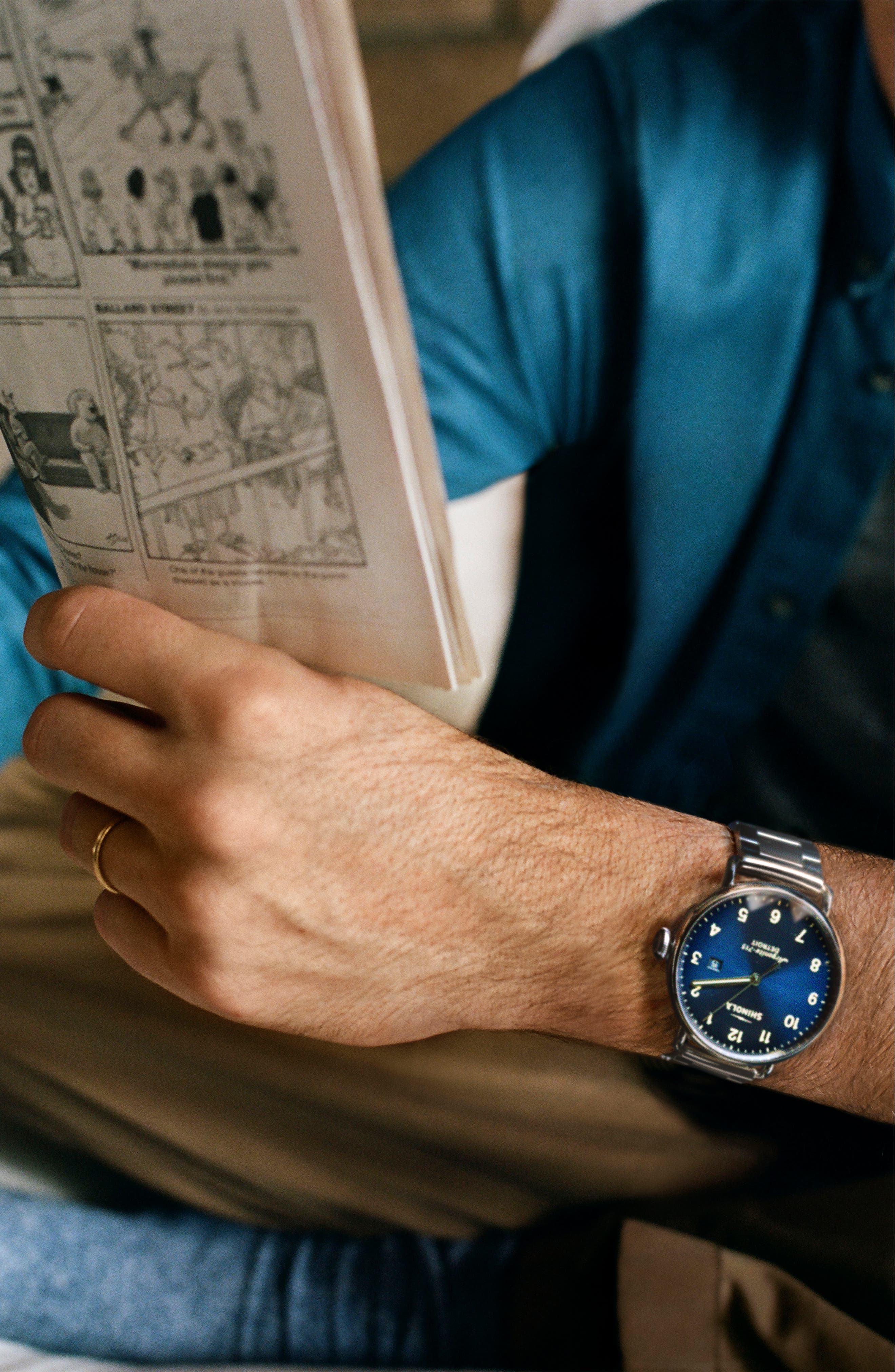 The Canfield Bracelet Watch, 43mm,                             Alternate thumbnail 4, color,                             SILVER/ MIDNIGHT BLUE