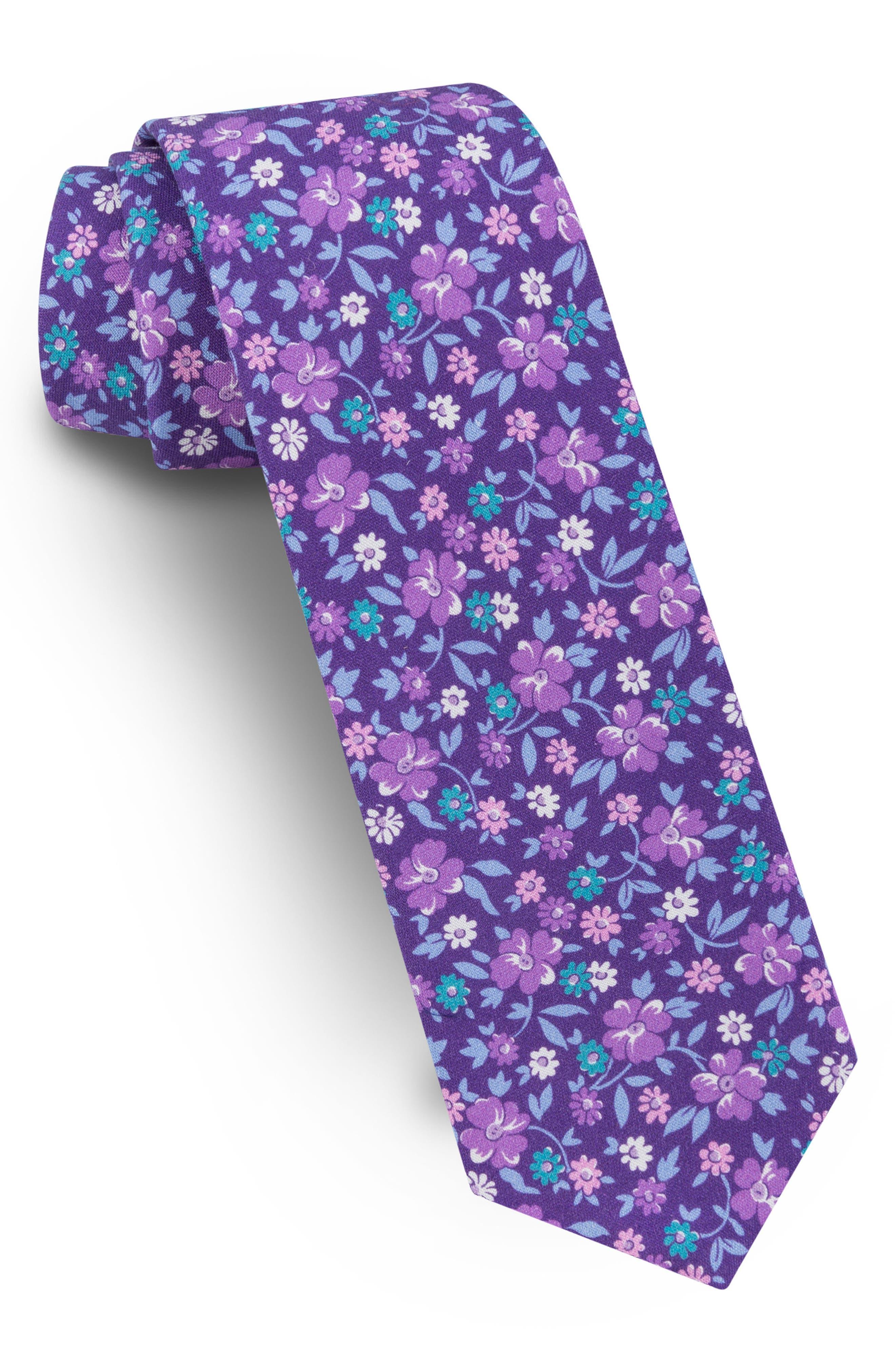 Floral Skinny Silk Tie,                         Main,                         color, 500