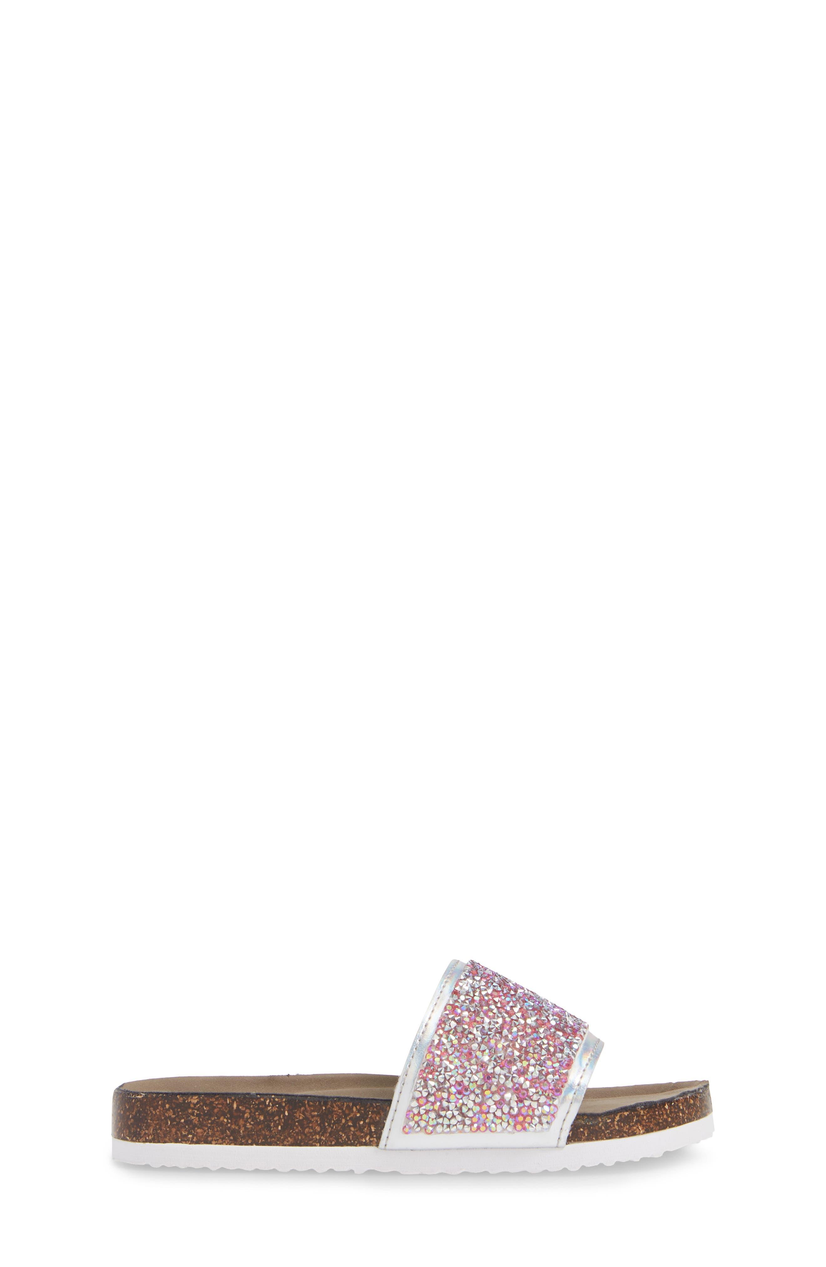 JShineon Sparkle Slide Sandal,                             Alternate thumbnail 3, color,                             PINK MULTI