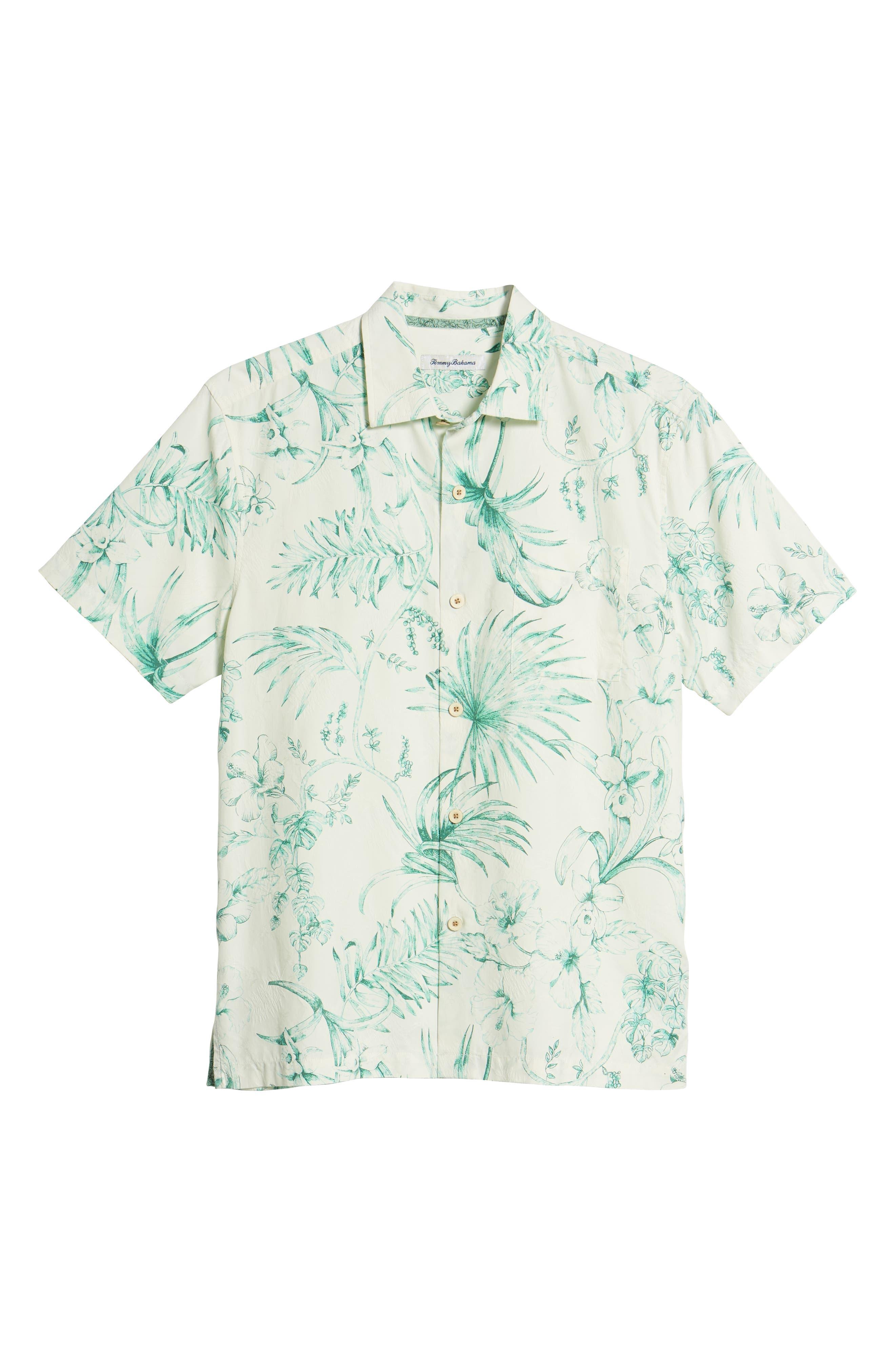 El Botanico Regular Fit Cotton & Silk Sport Shirt,                             Alternate thumbnail 6, color,                             MARBLE CRE