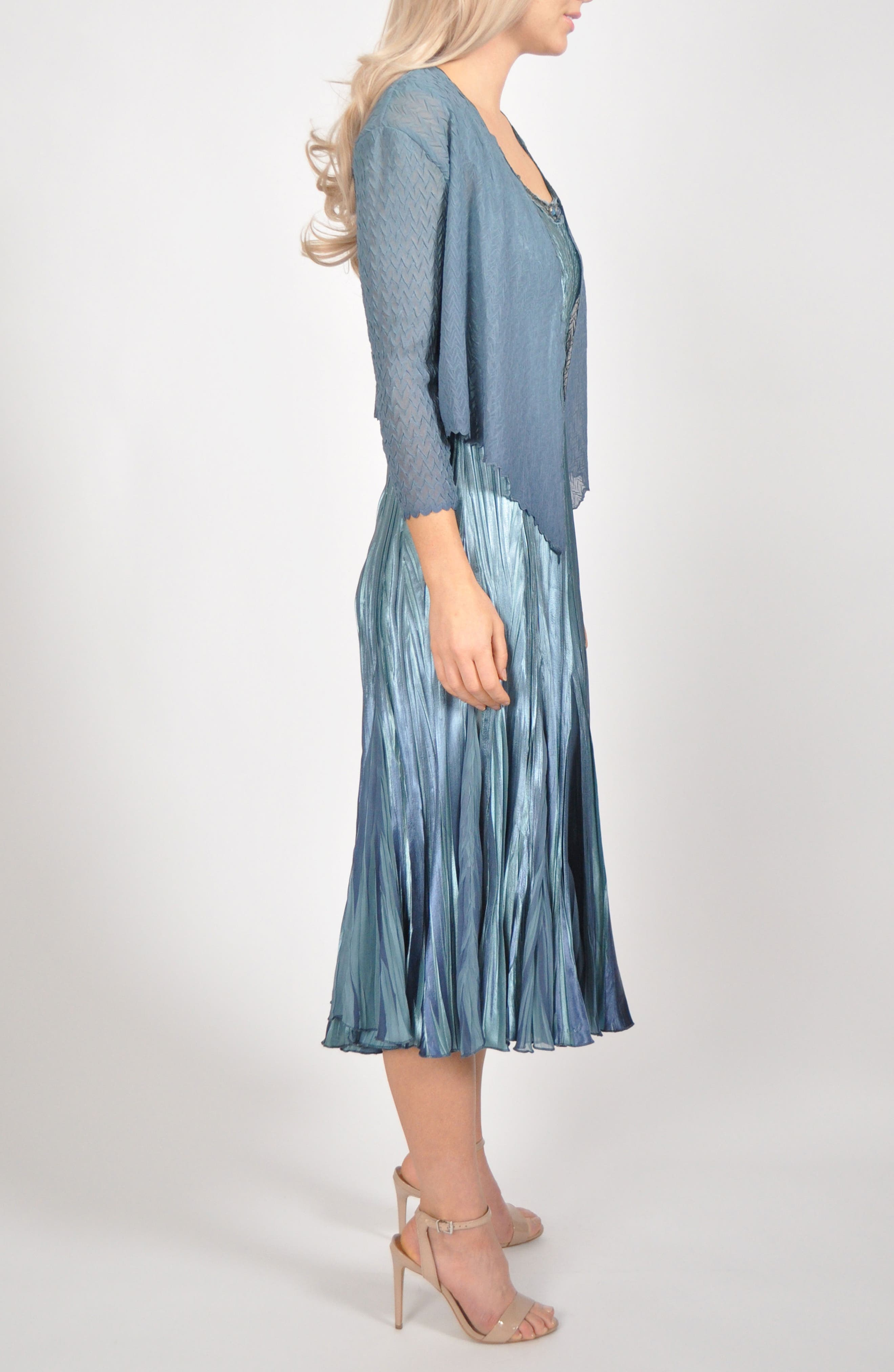 Embellished Pleat Mixed Media Dress with Jacket,                             Alternate thumbnail 6, color,                             SILVER BLUE OMBRE