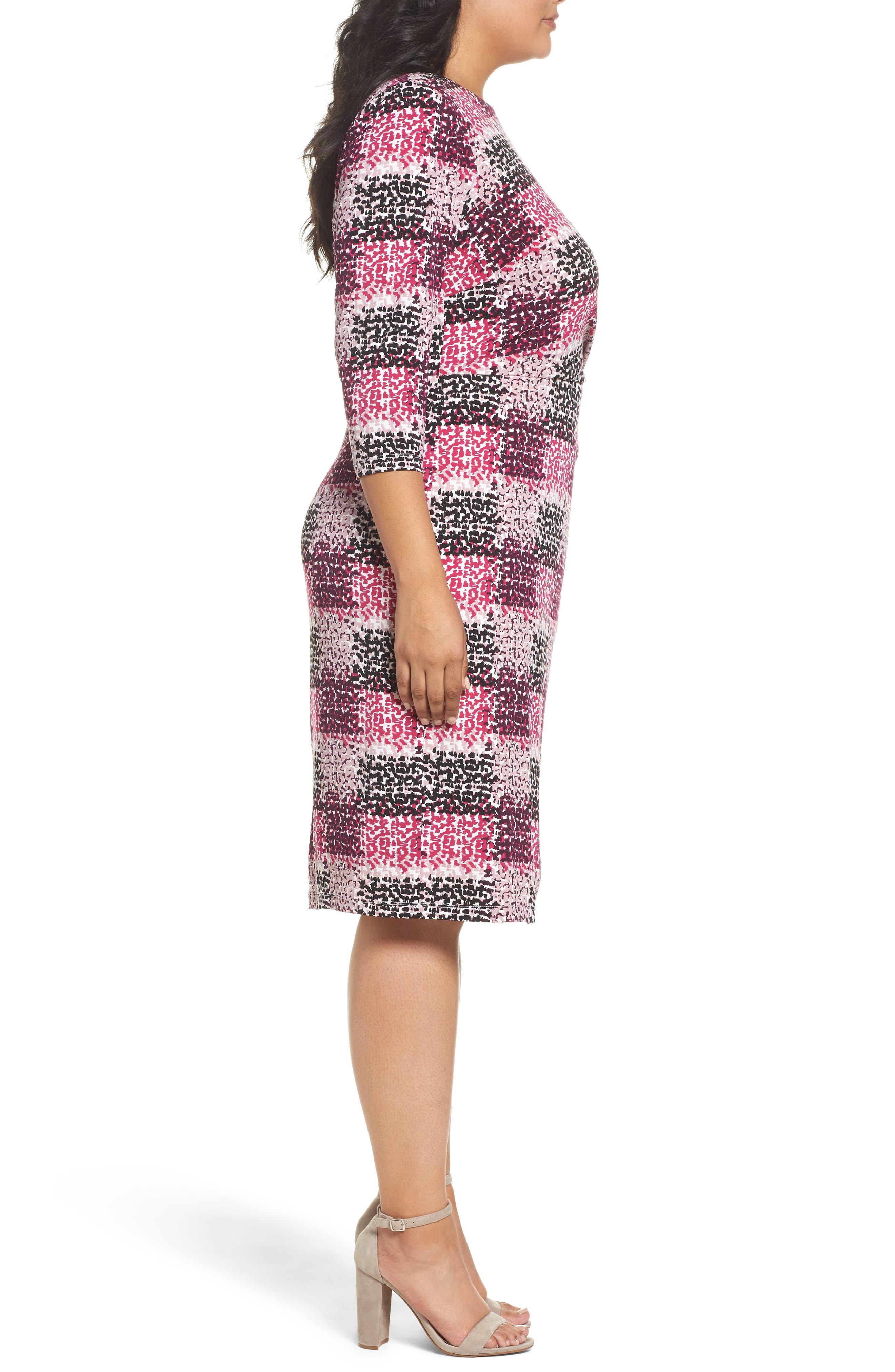 Print Jersey Side Tuck Sheath Dress,                             Alternate thumbnail 3, color,                             465