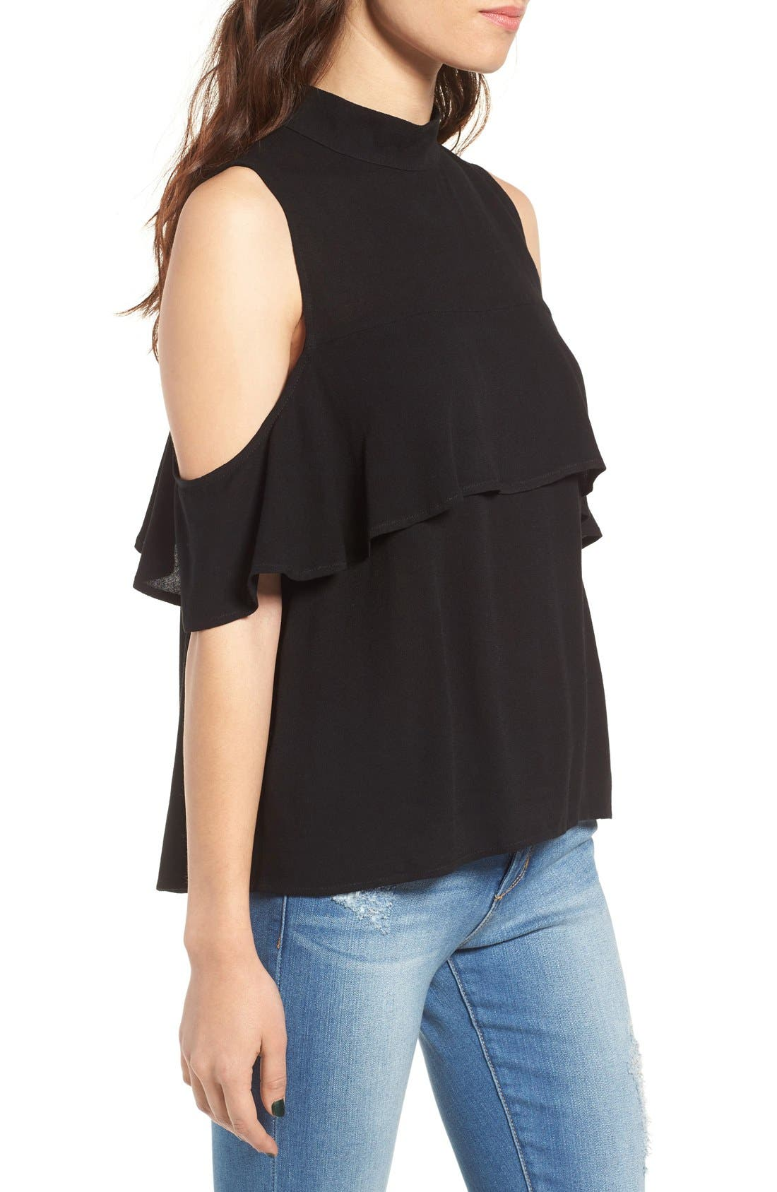 Ruffle Cold Shoulder Top,                             Alternate thumbnail 6, color,                             001