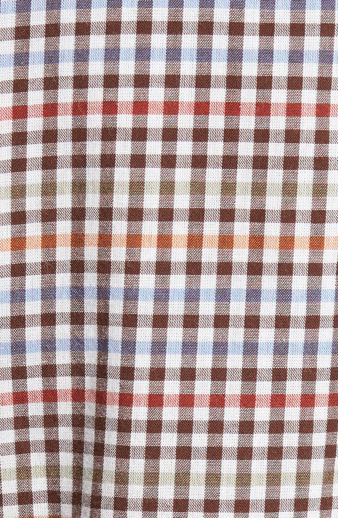 Tan Tan Regular Fit Check Sport Shirt,                             Alternate thumbnail 5, color,                             050