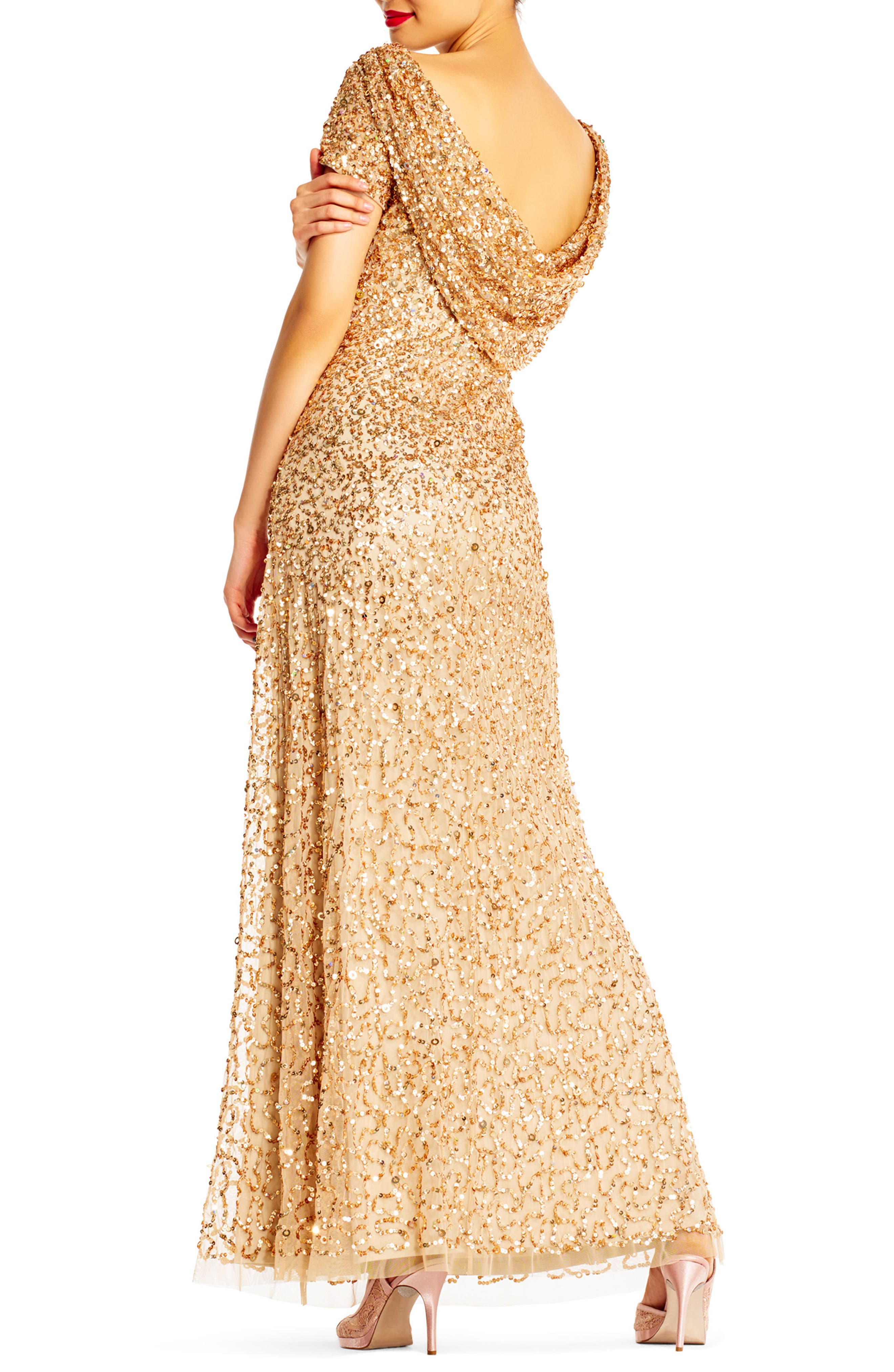 Sequin Cowl Back Gown,                             Alternate thumbnail 11, color,