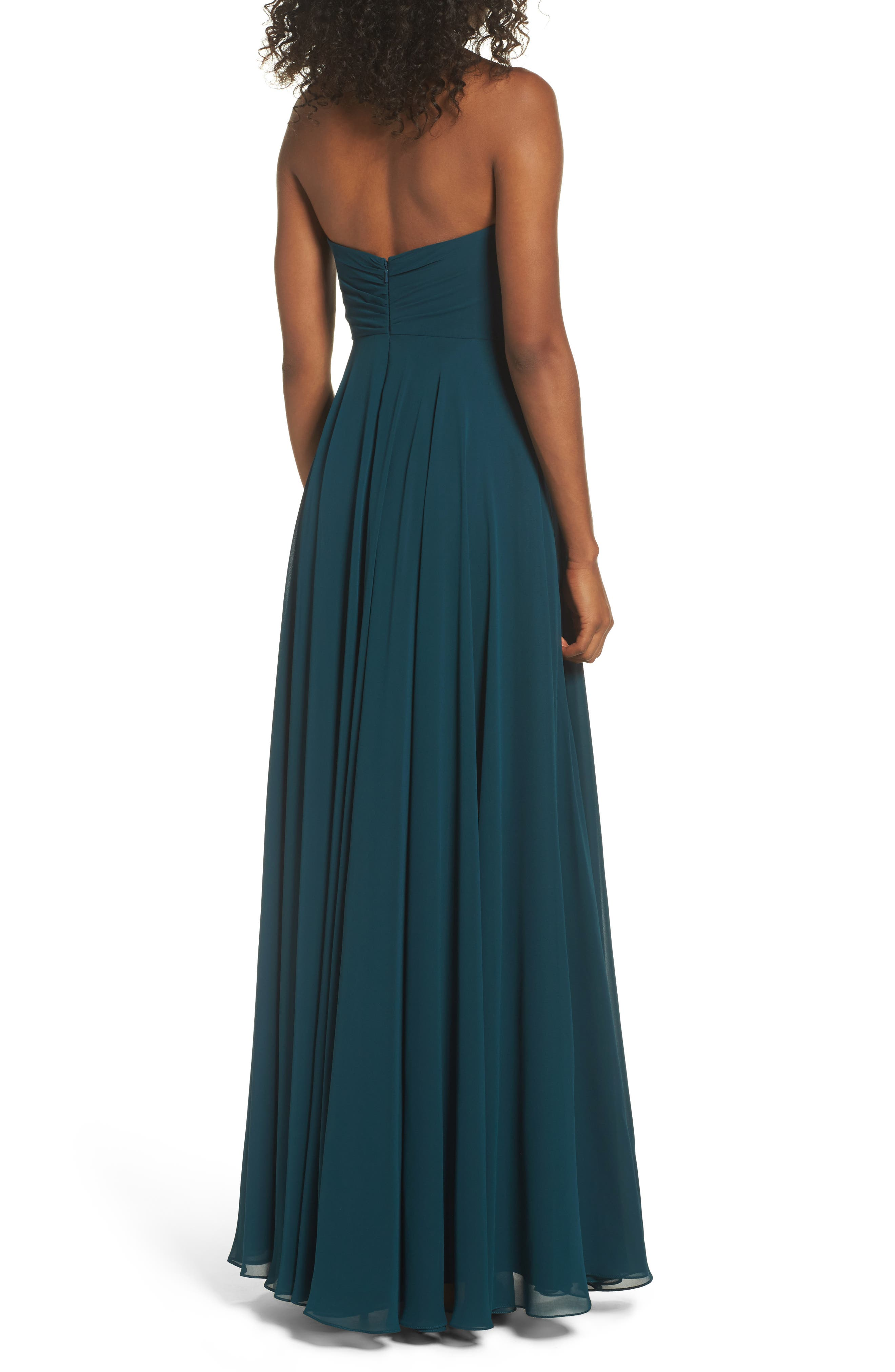 JENNY YOO,                             Adeline Strapless Chiffon Gown,                             Alternate thumbnail 2, color,                             444