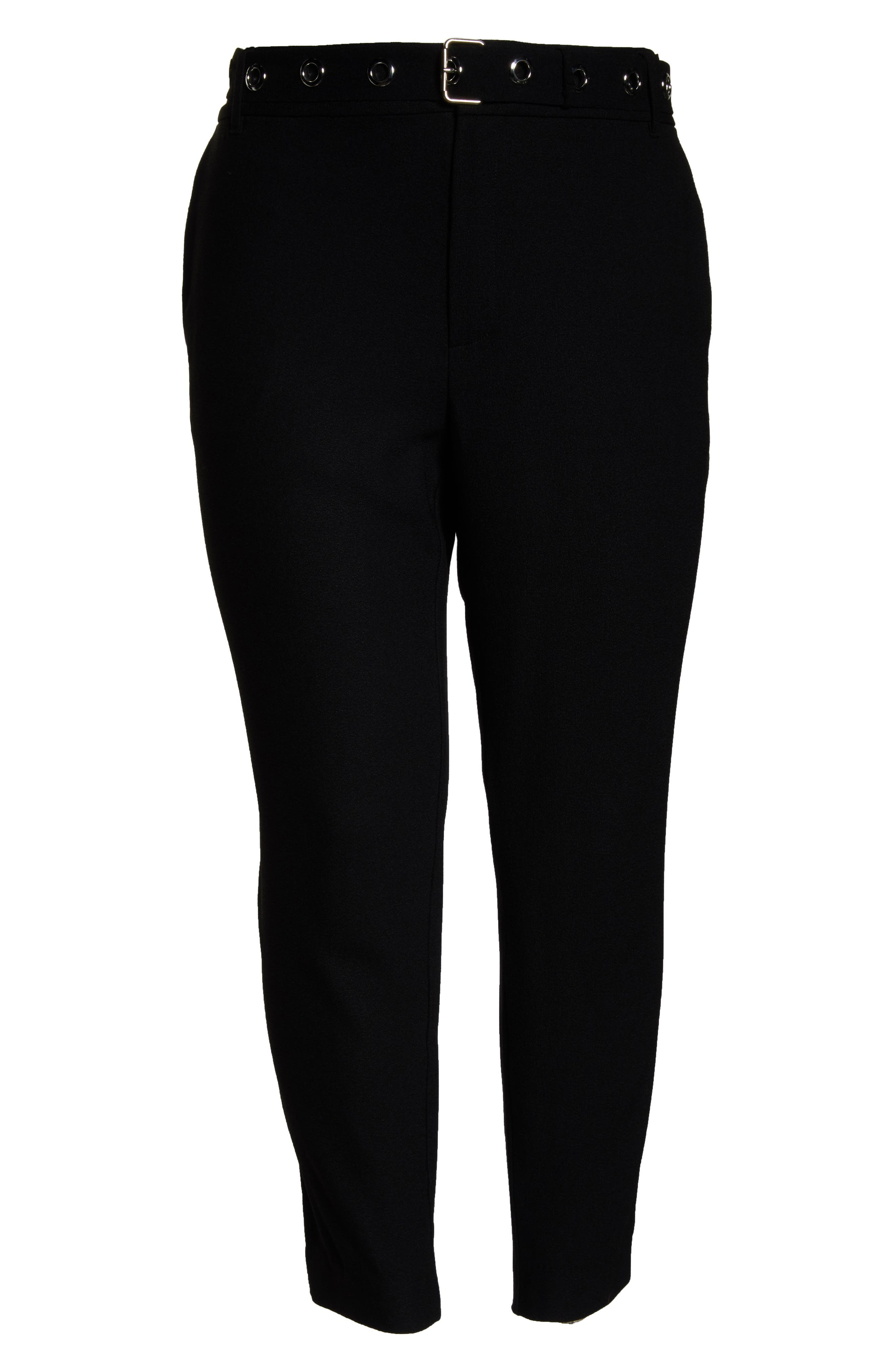 Grace Grommet Belt Pants,                             Alternate thumbnail 6, color,                             BLACK
